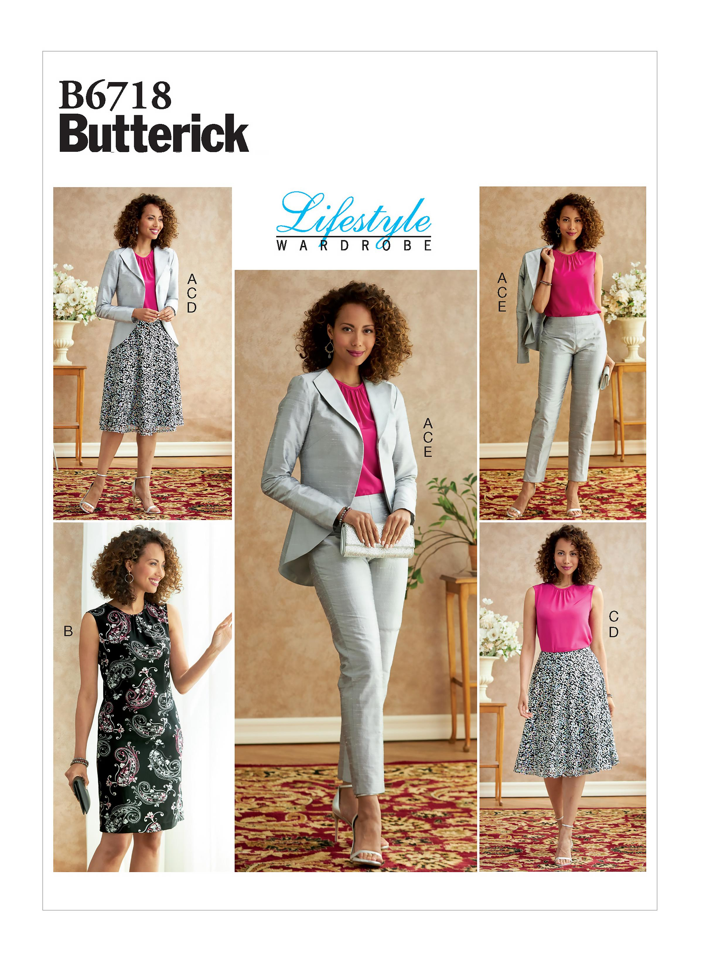 Butterick B6718 Misses' Jacket, Dress, Top, Skirt, & Pants