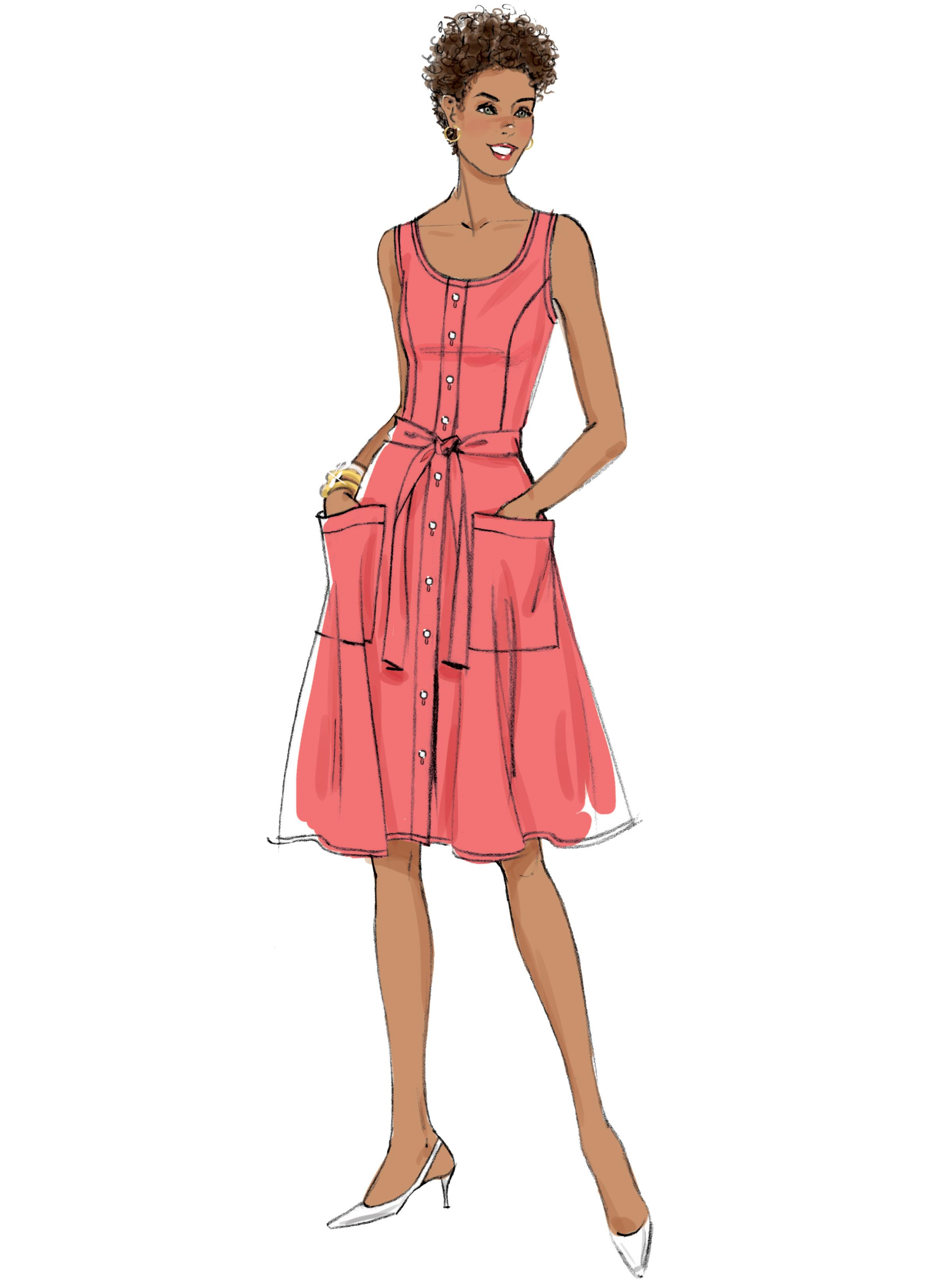 Butterick B6674 Misses' Dress, Sash and Bag