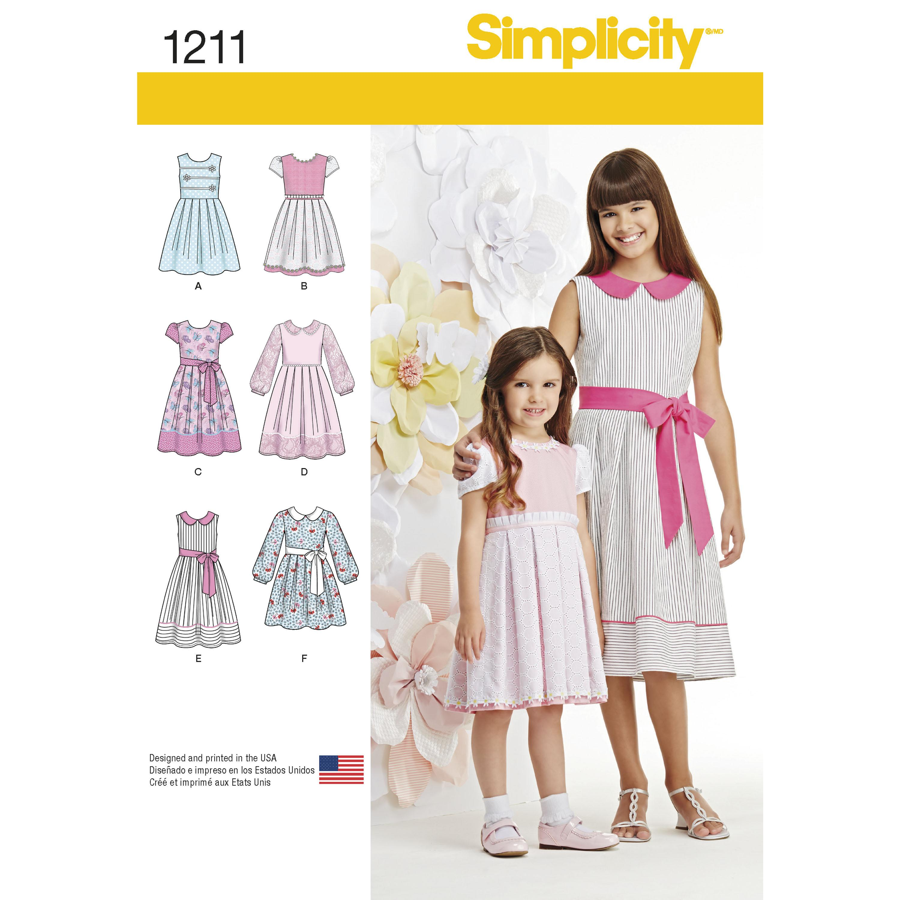 Simplicity S1211 Child's and Girls' Dress in two lengths