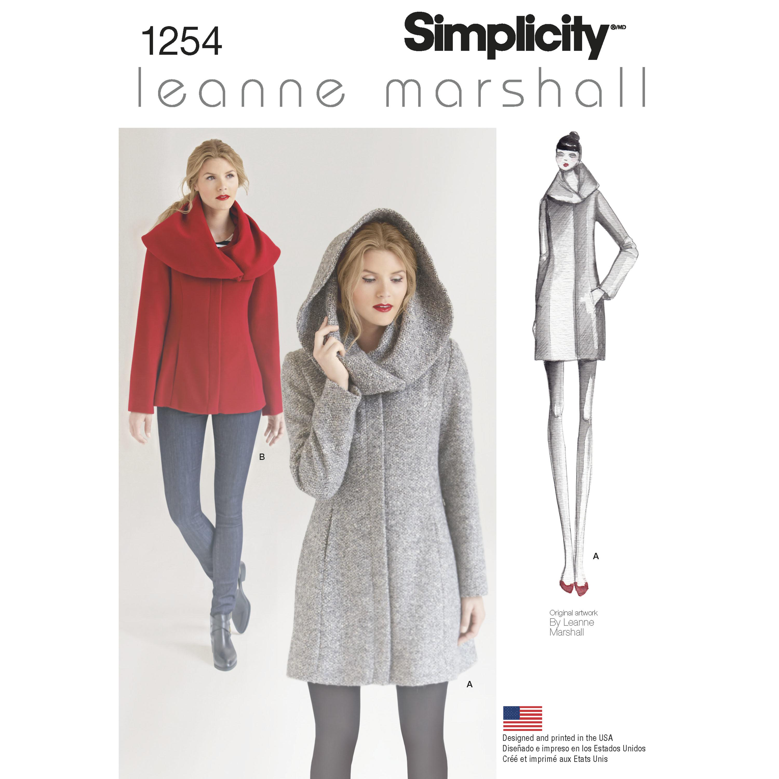 Simplicity S1254 Women's Leanne Marshall Easy Lined Coat or Jacket