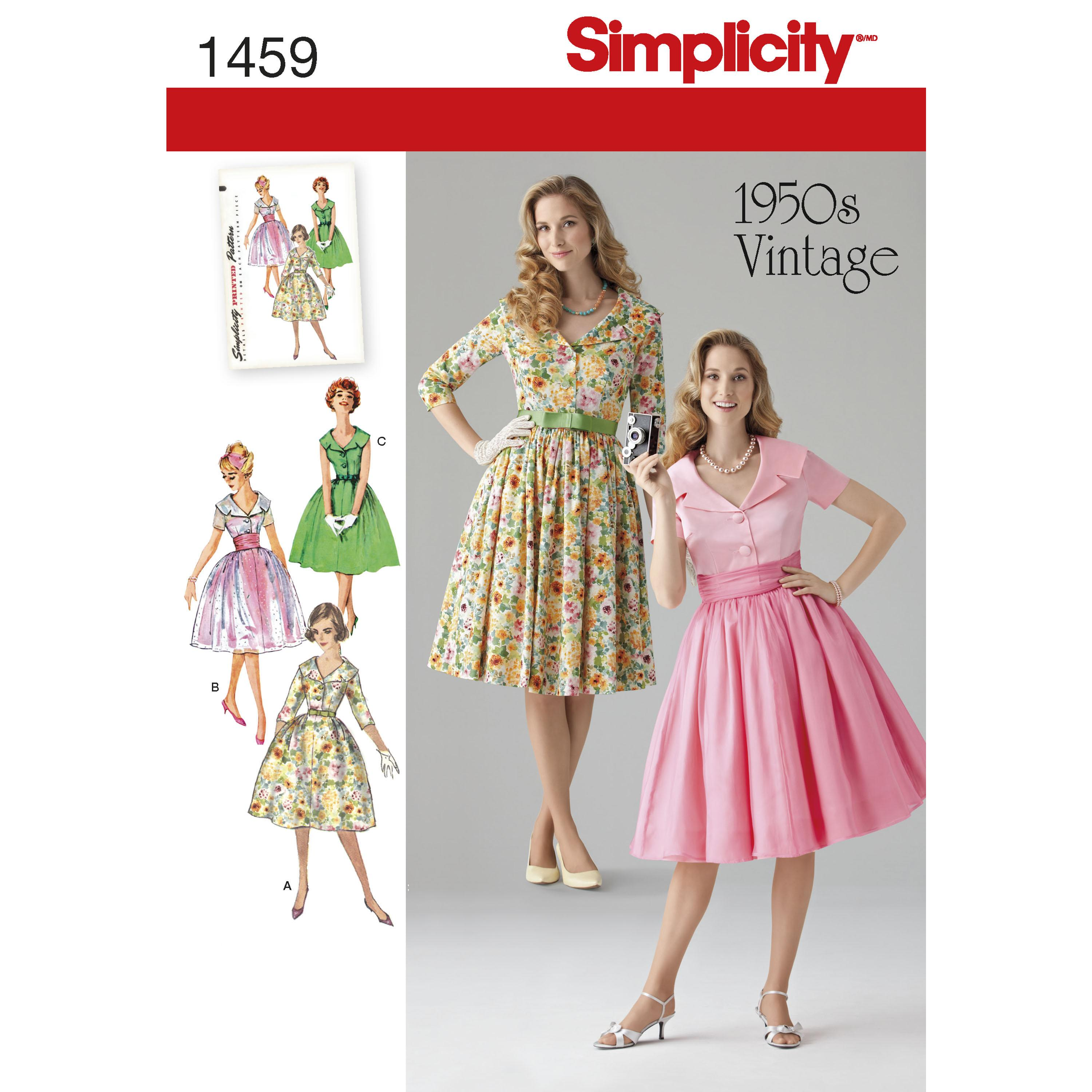 Simplicity S1459 Women's and Petite 1950's Vintage Dress