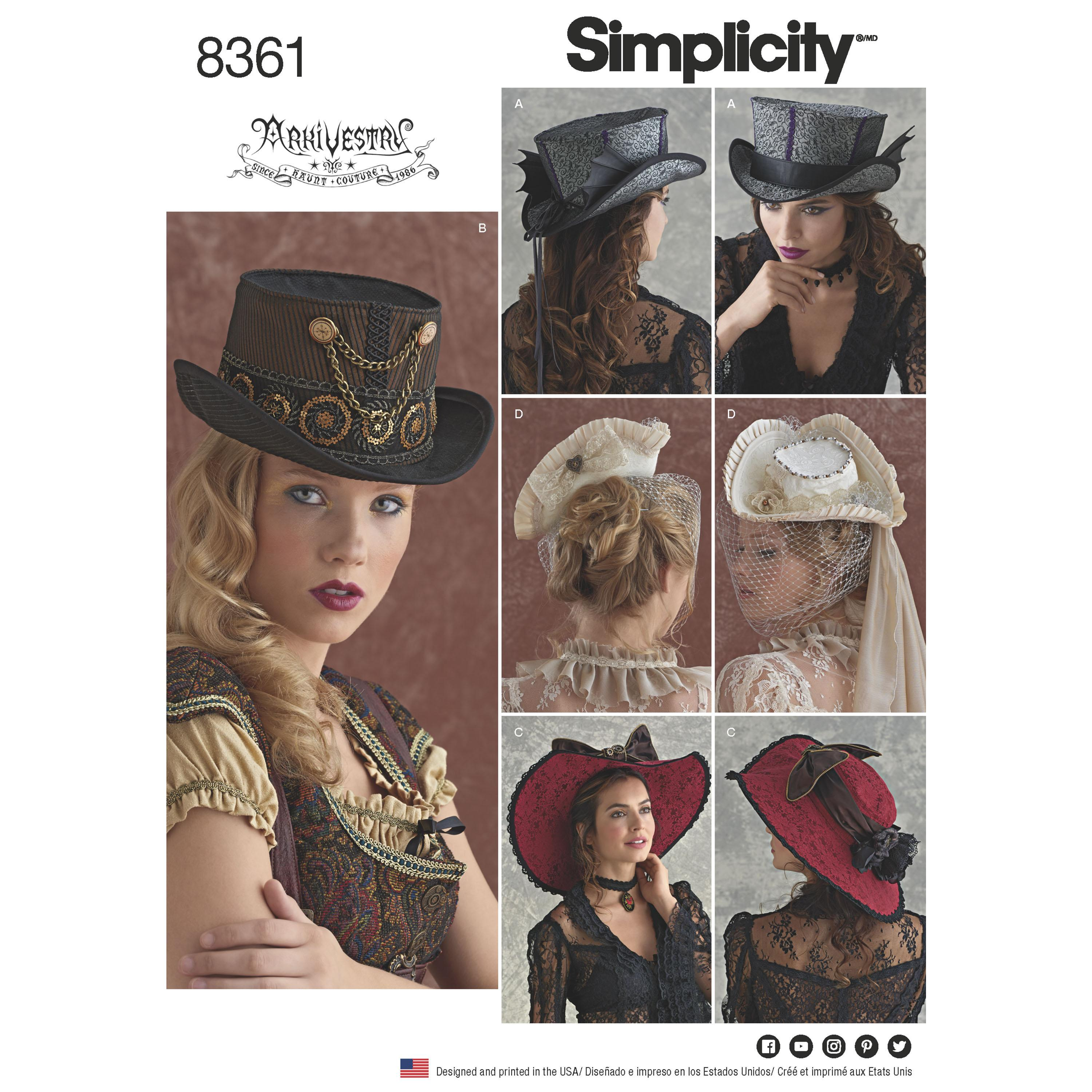"Simplicity S8361 Hats in Three Sizes: S (21""), M (22""), L (23"")"