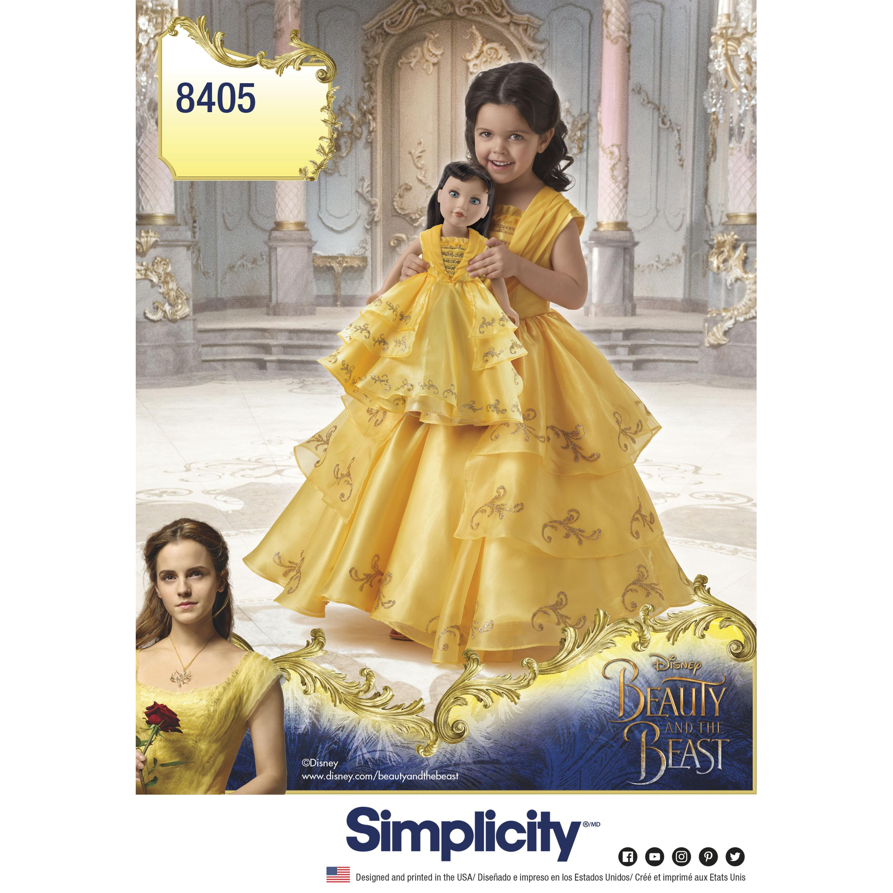 "Simplicity S8405 Disney Beauty and the Beast Costume for Child and 18"" Doll"