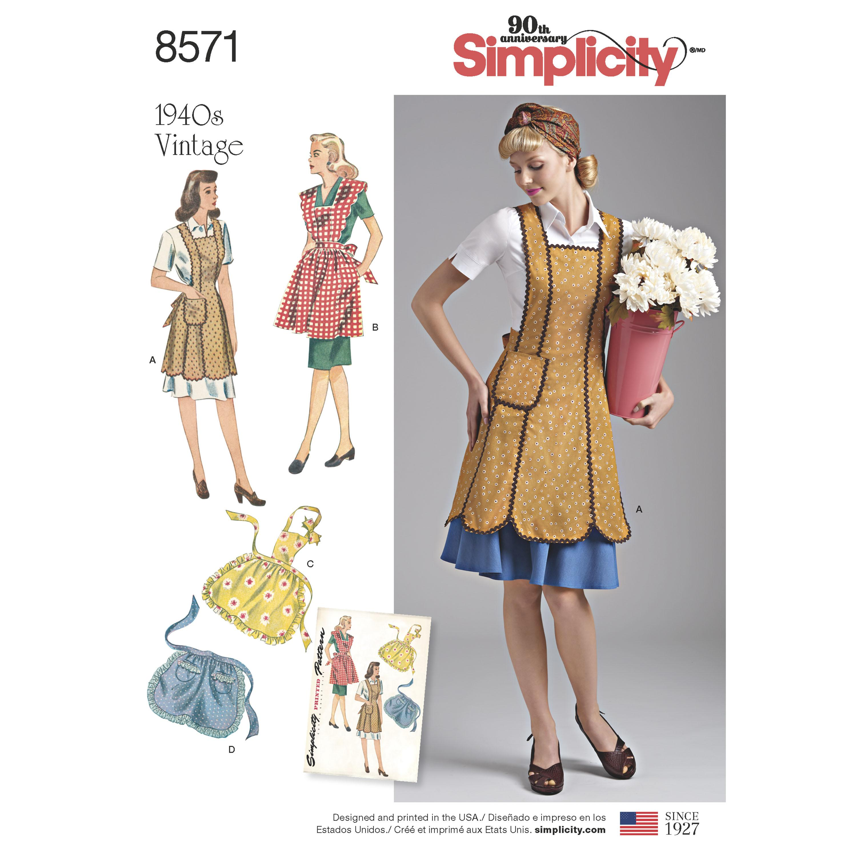Simplicity S8571 Womens' Vintage Aprons