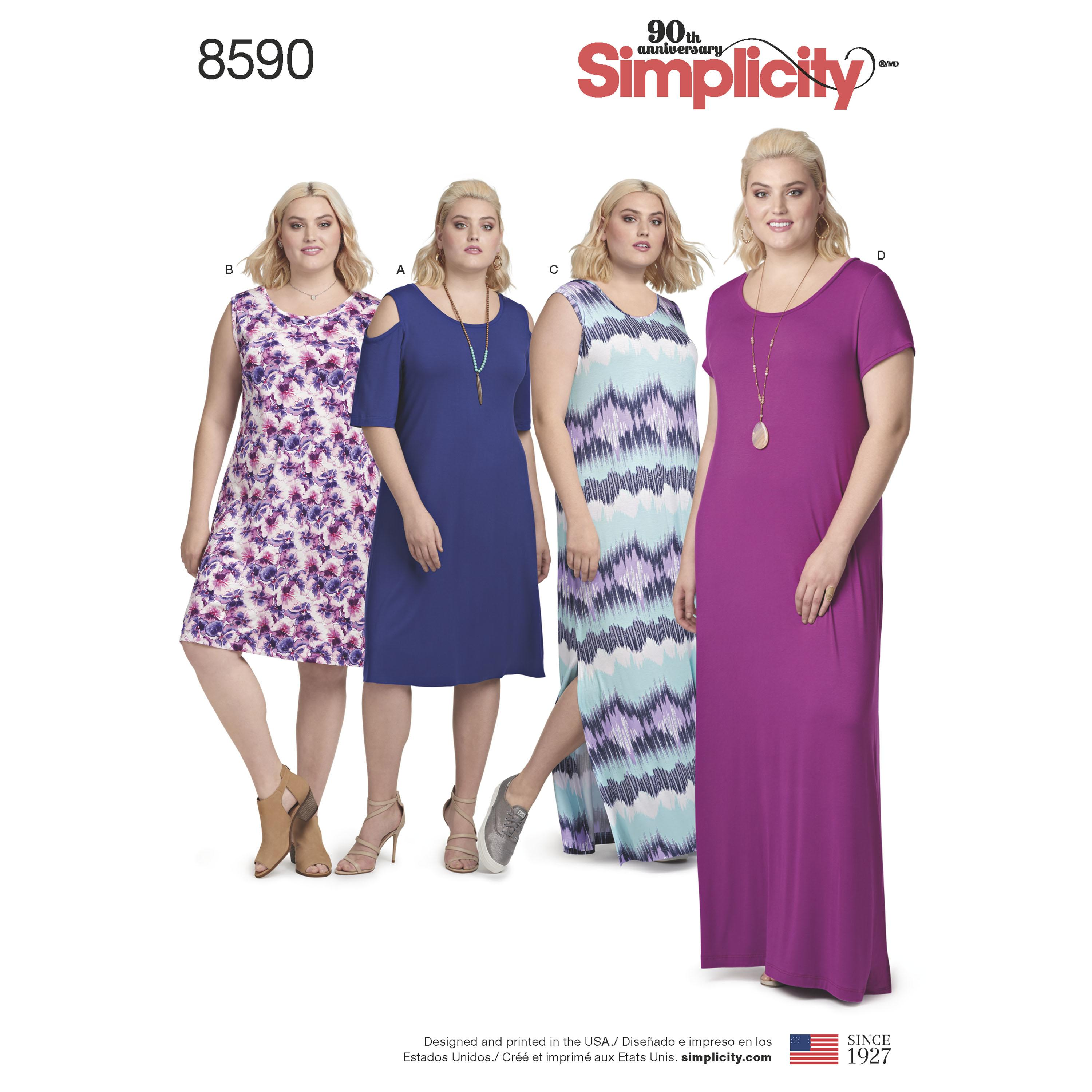 Simplicity S8590 Women's Knit Dresses