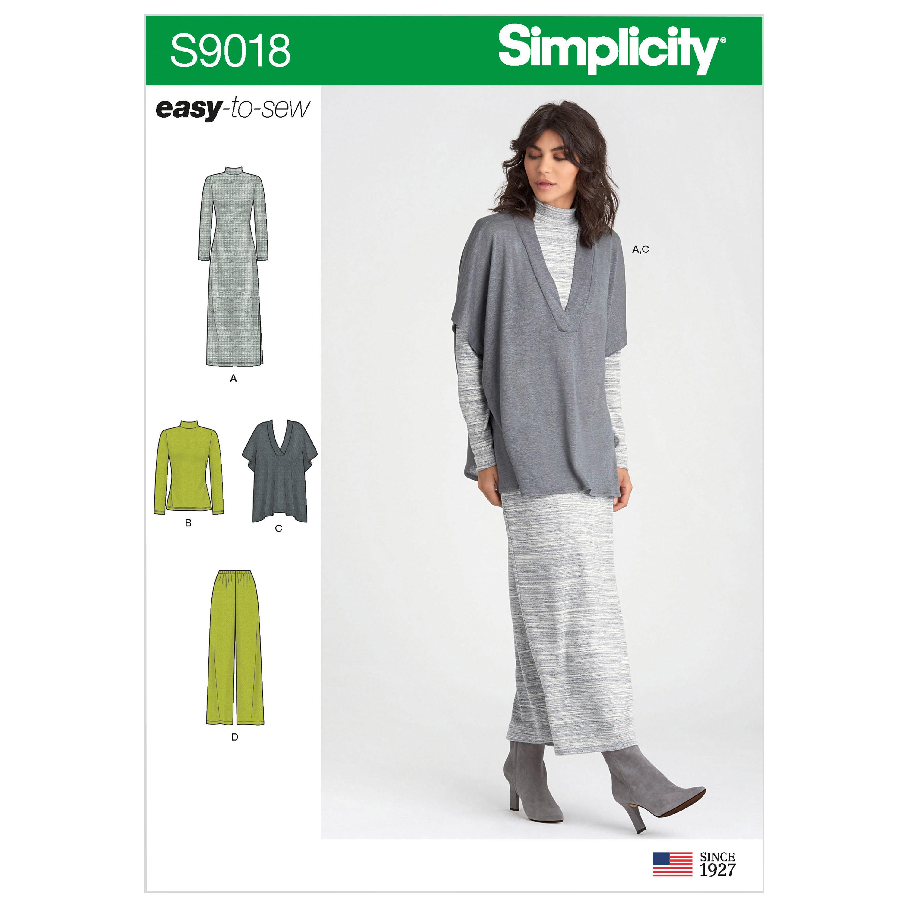 Simplicity S9018 Misses' Pants, Knit Vest, Dress or Top