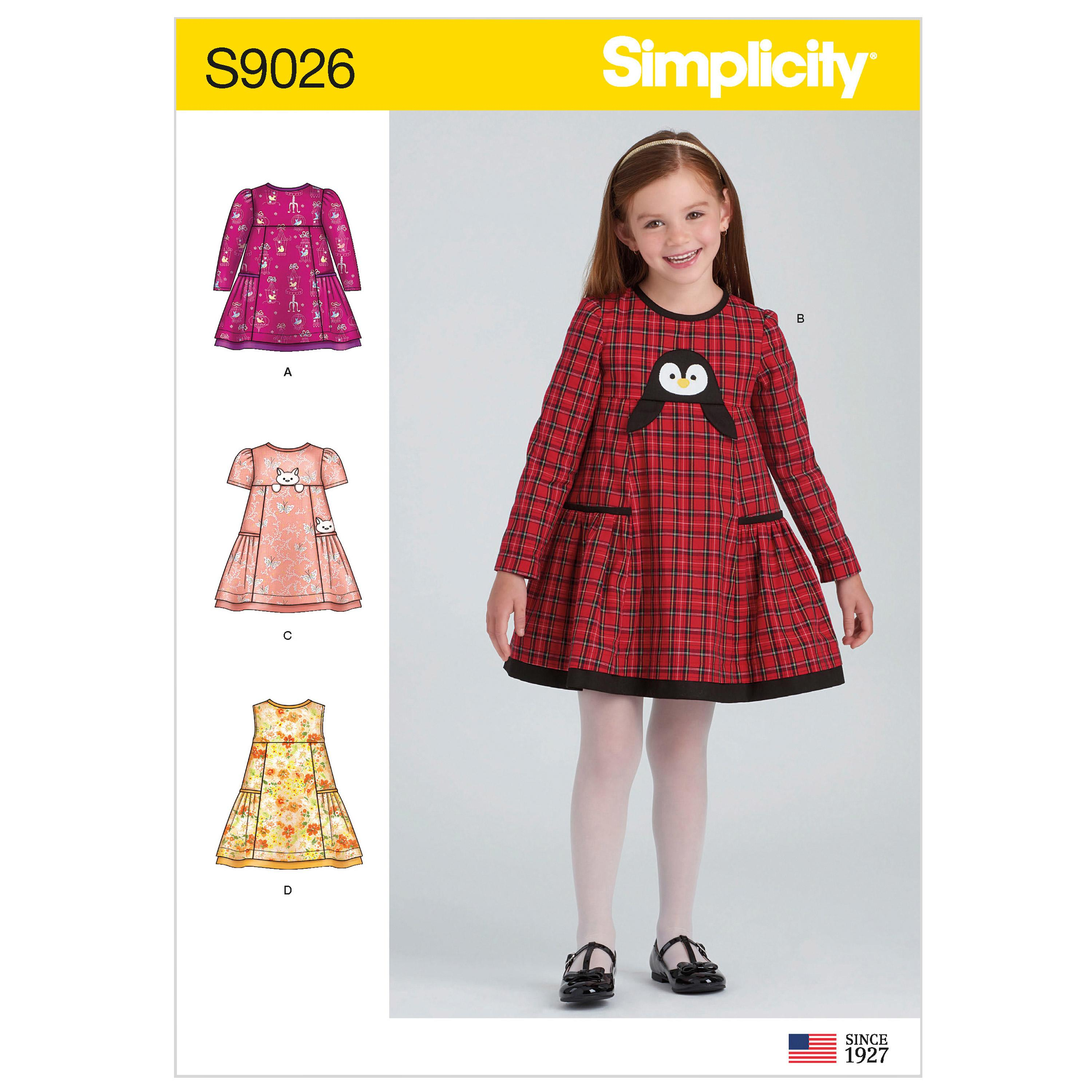 Simplicity S9026 Children's Animal Applique Pocket Dress