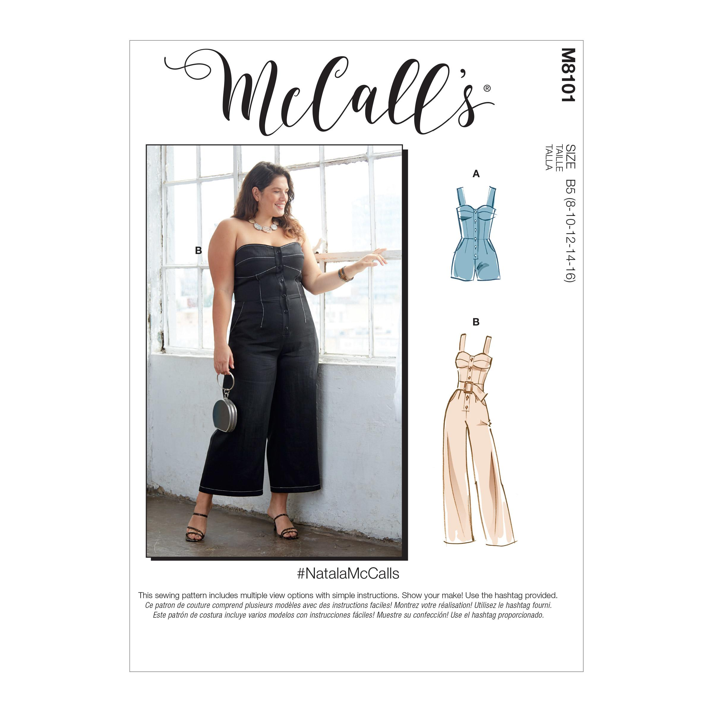 McCalls M8101 #NatalaMcCalls - Misses' & Women's Romper, Jumpsuit & Belt