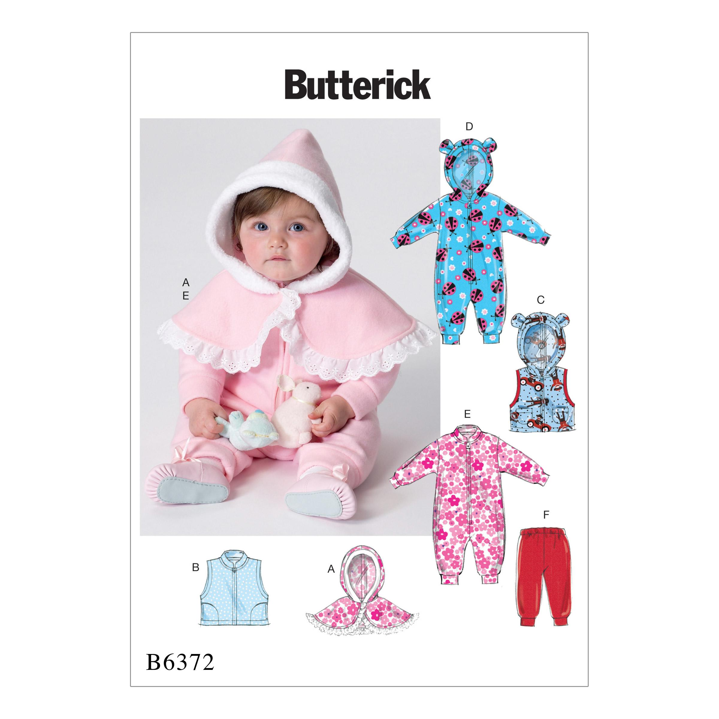 Butterick B6372 Infants' Cape, Vest, Buntings and Pull-On Pants