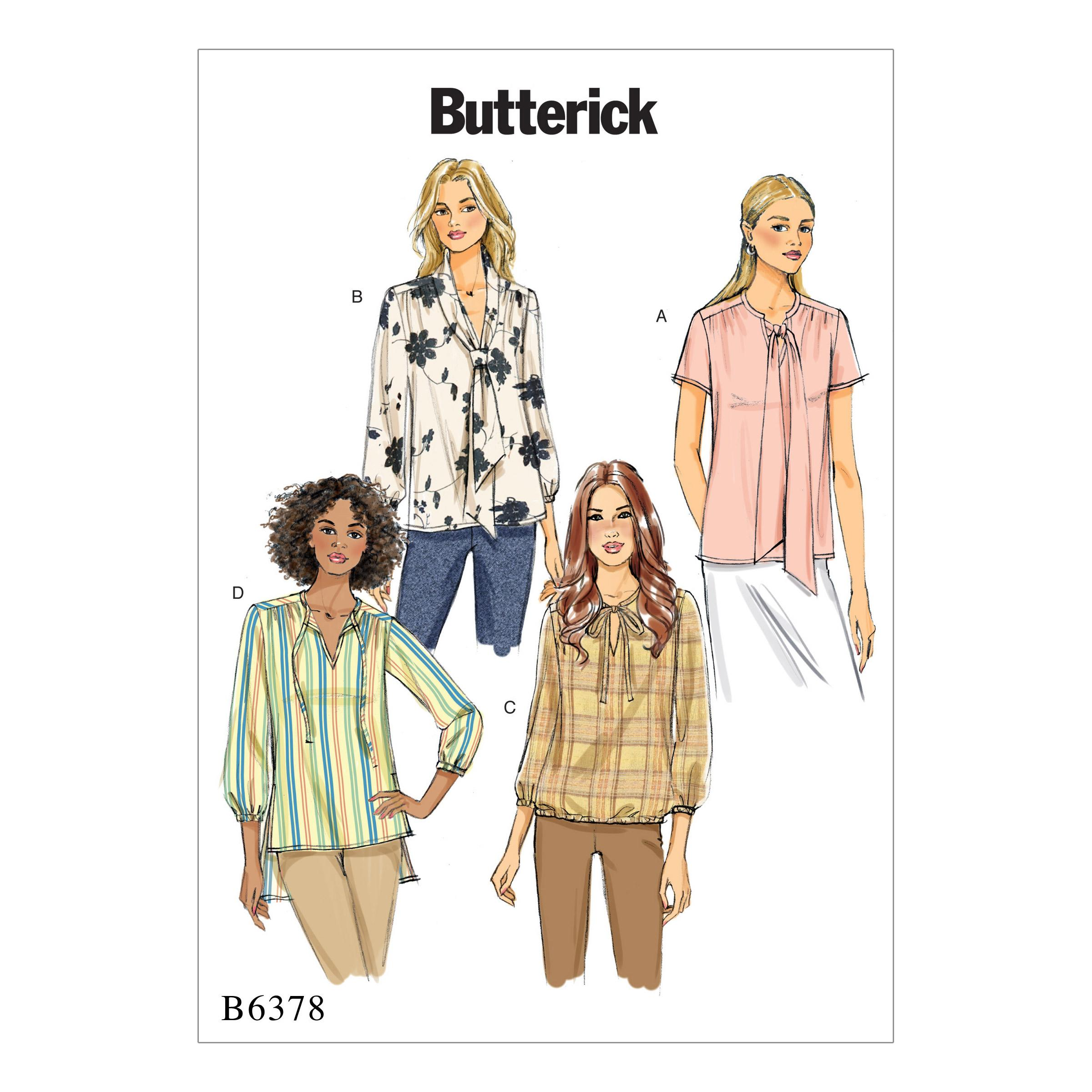 Butterick B6378 Misses' Gathered Tops and Tunics with Neck Ties