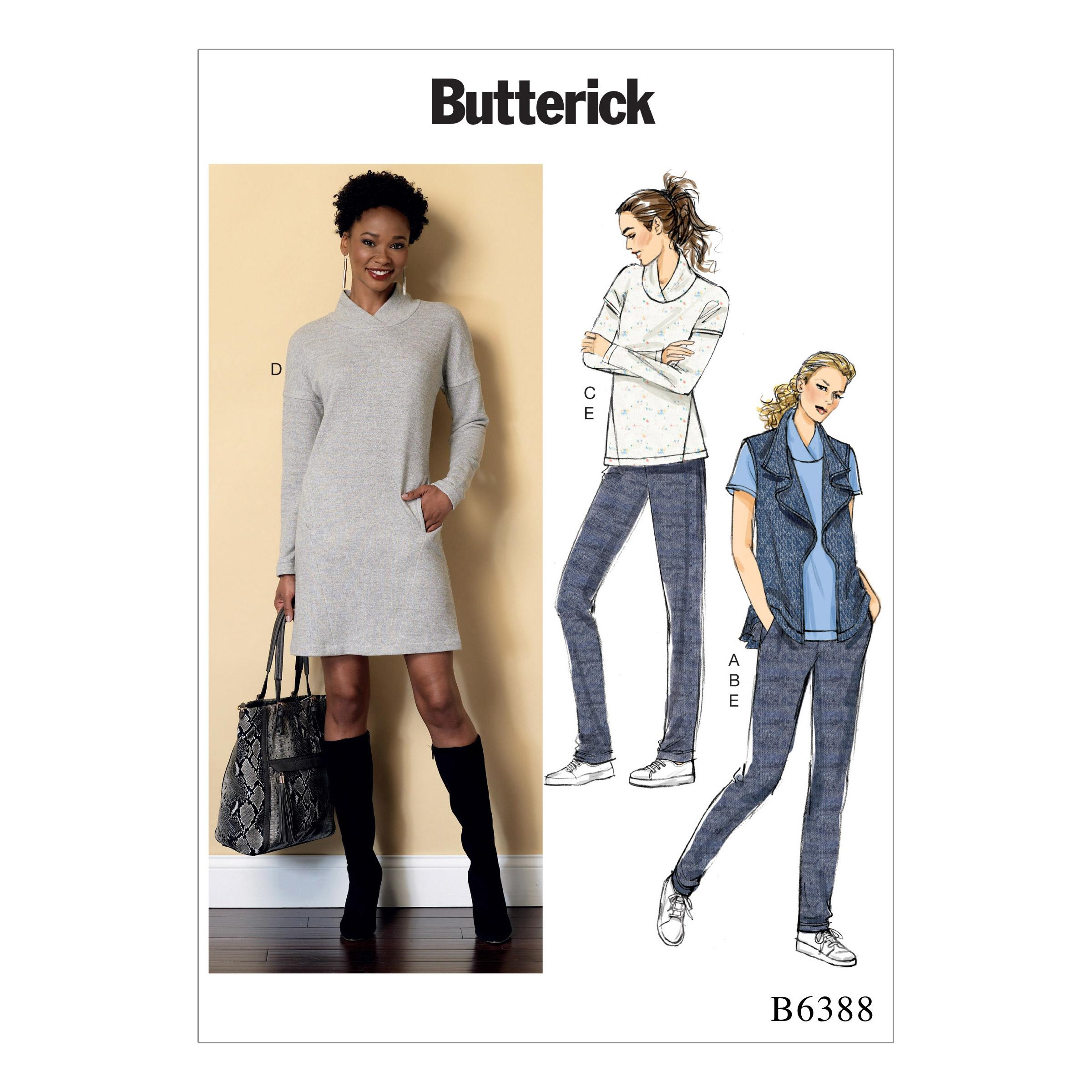Butterick B6388 Misses' Lapped Collar Tops and Dress, Draped Collar Vest, and Pleated Pants