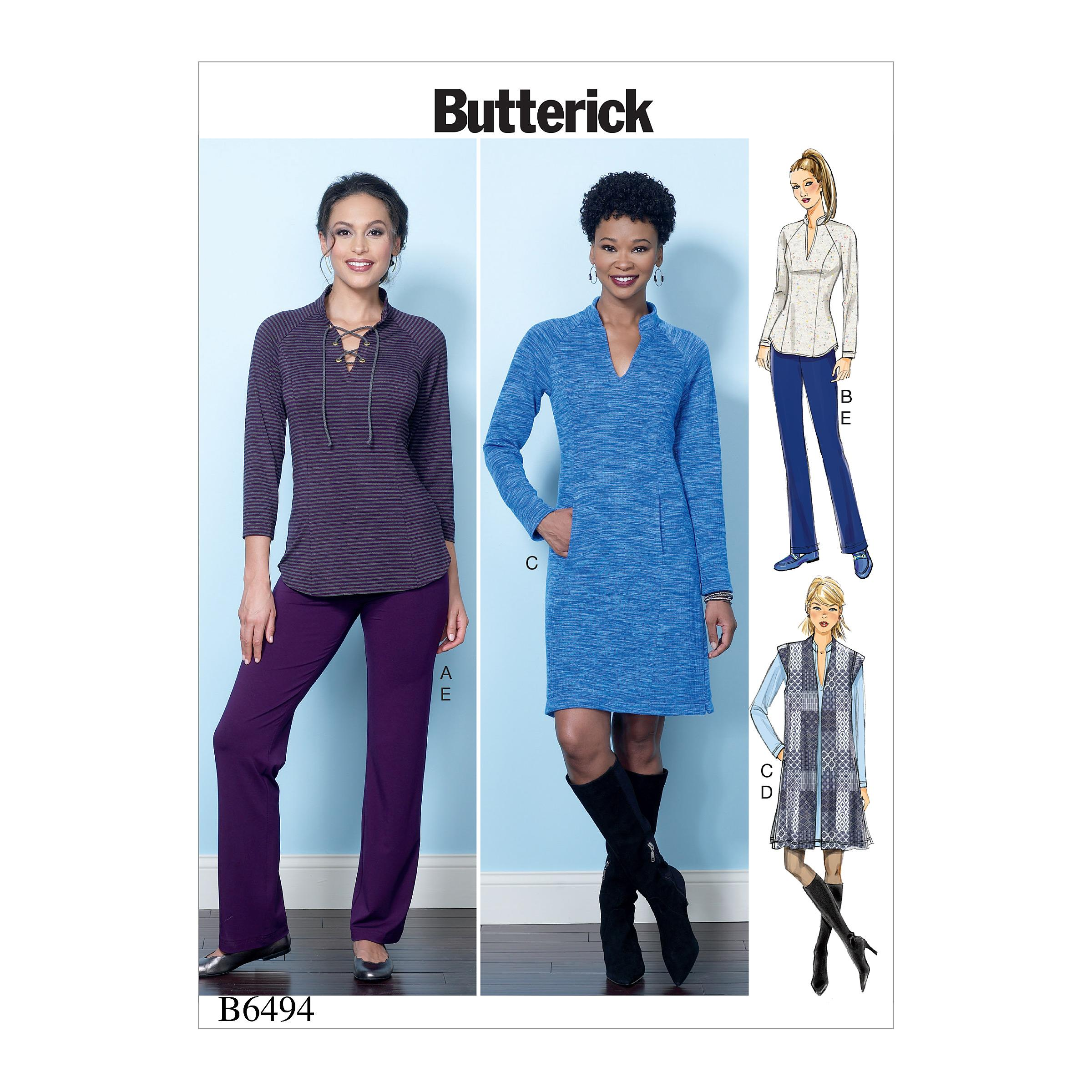 Butterick B6494 Misses' Knit Raglan Sleeve Tops and Dress, Vest, and Pull-On Pants
