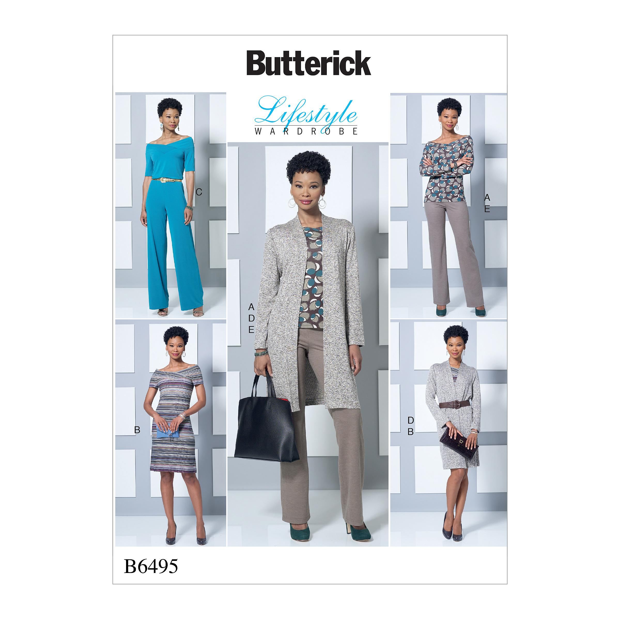 Butterick B6495 Misses' Knit Off-the-Shoulder Top, Dress and Jumpsuit, Loose Jacket, and Pull-On Pants