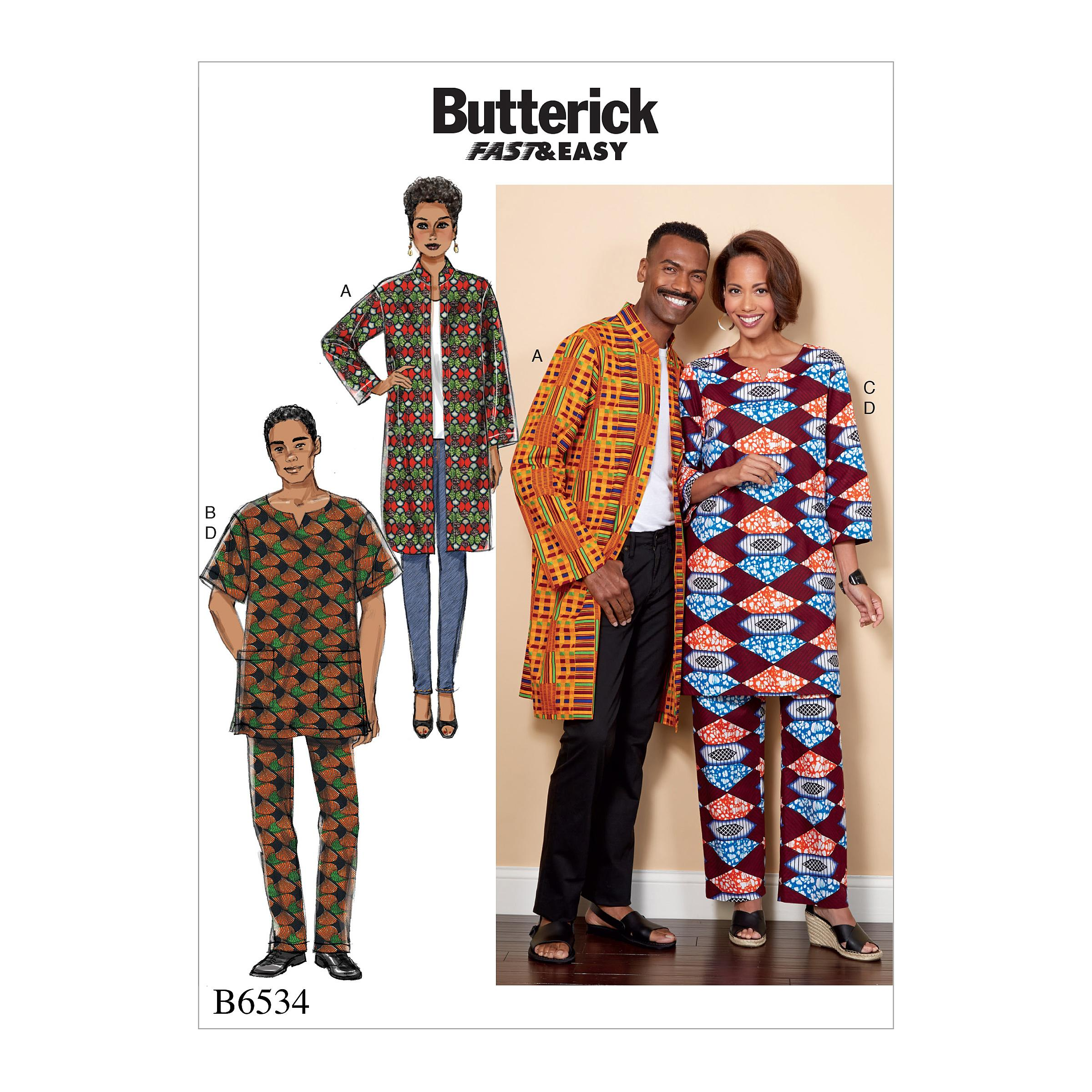 Butterick B6534 Misses'/Men's Coat, Tunic and Pants