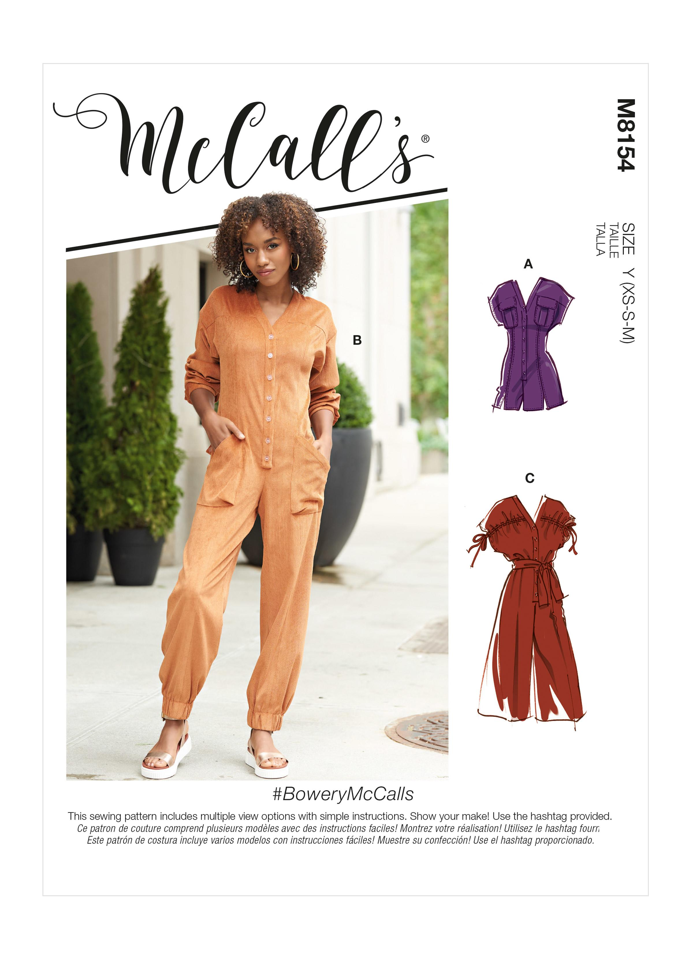 McCall's M8154 #BoweryMcCalls - Misses' Rompers, Jumpsuits & Belt