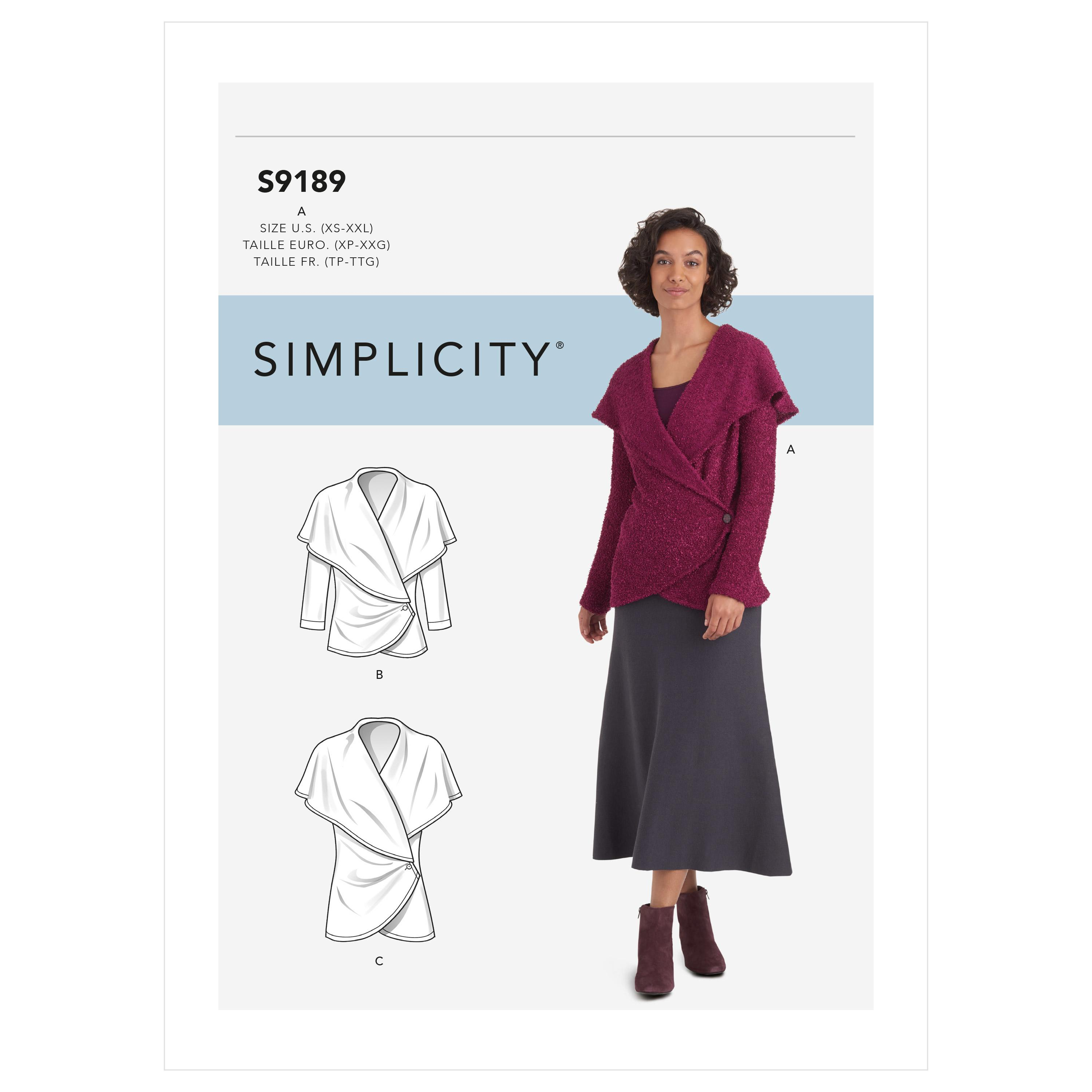 Simplicity Sewing Pattern S9189 Misses' Knit Wrap Jacket