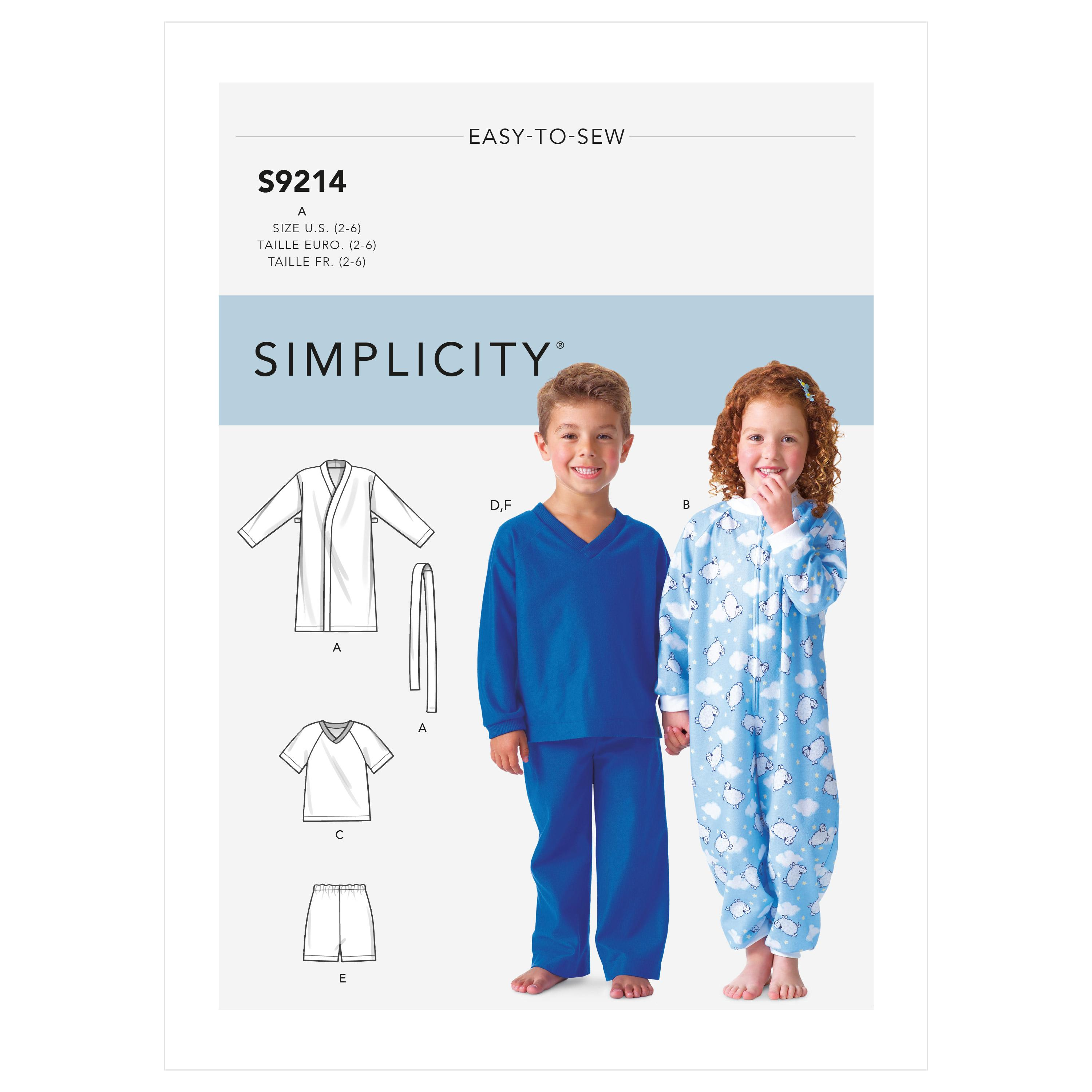 Simplicity Sewing Pattern S9214 Children's Cozywear