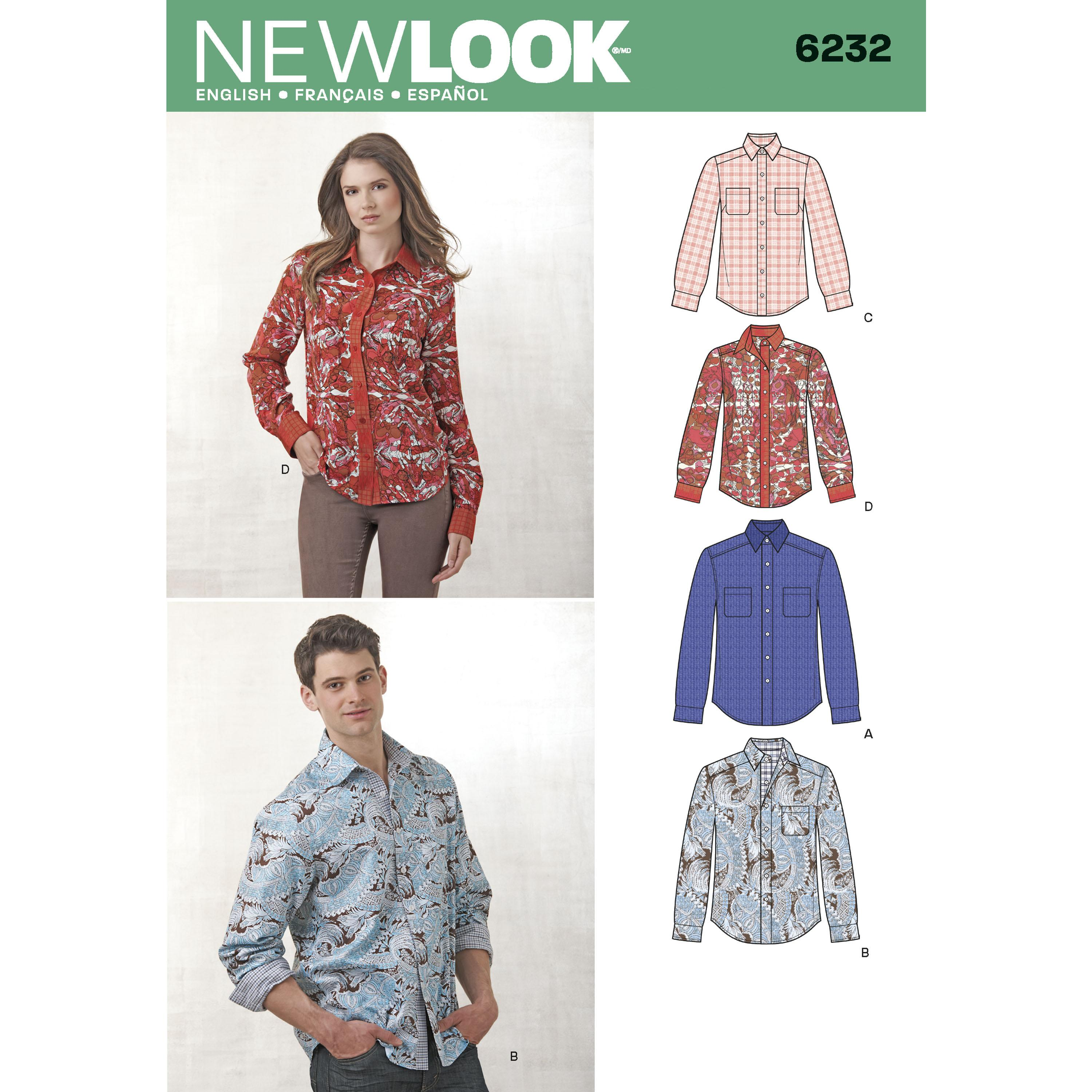 NewLook N6232 Misses' and Men's Button Down Shirt