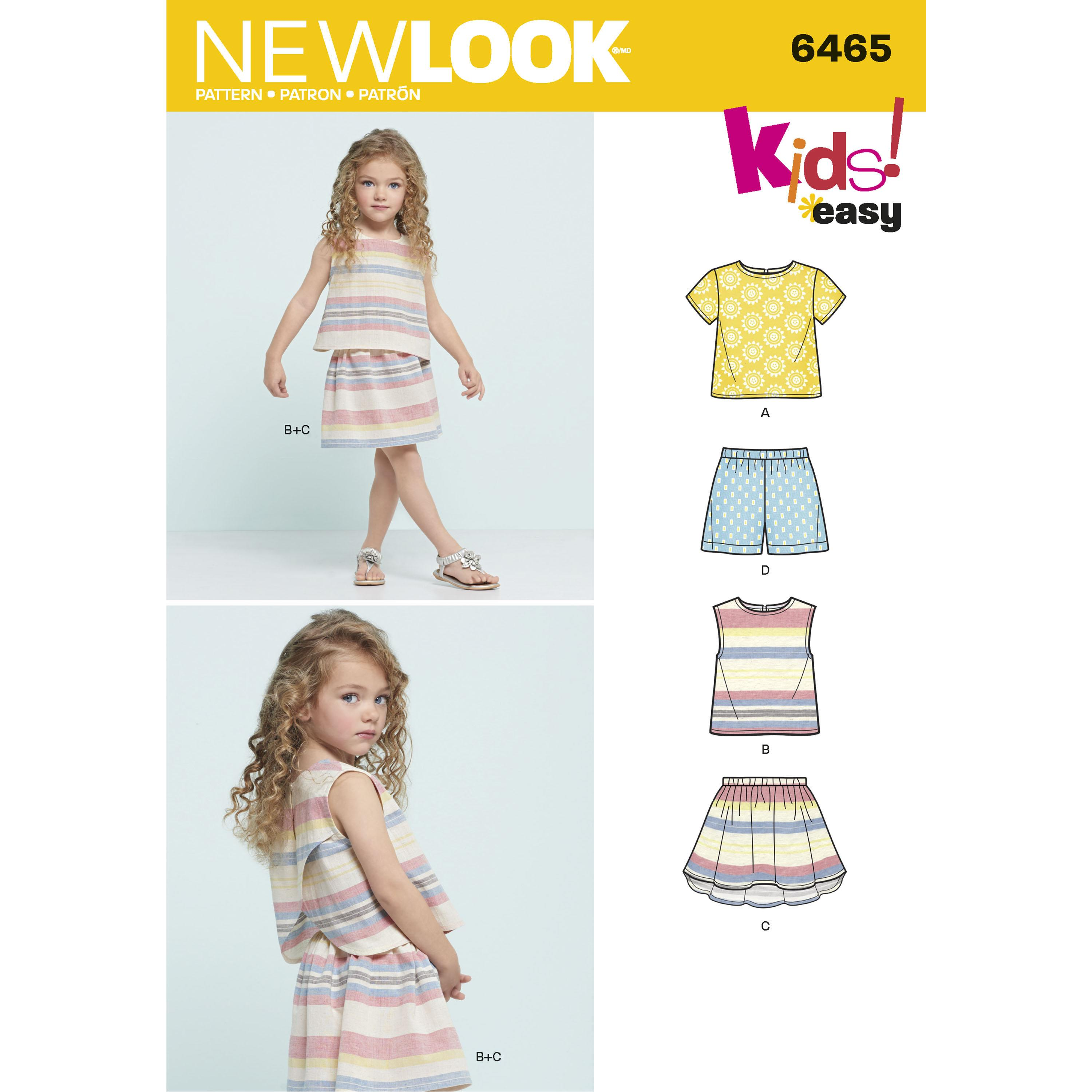 NewLook N6465 Child's Easy Top, Skirt and Shorts
