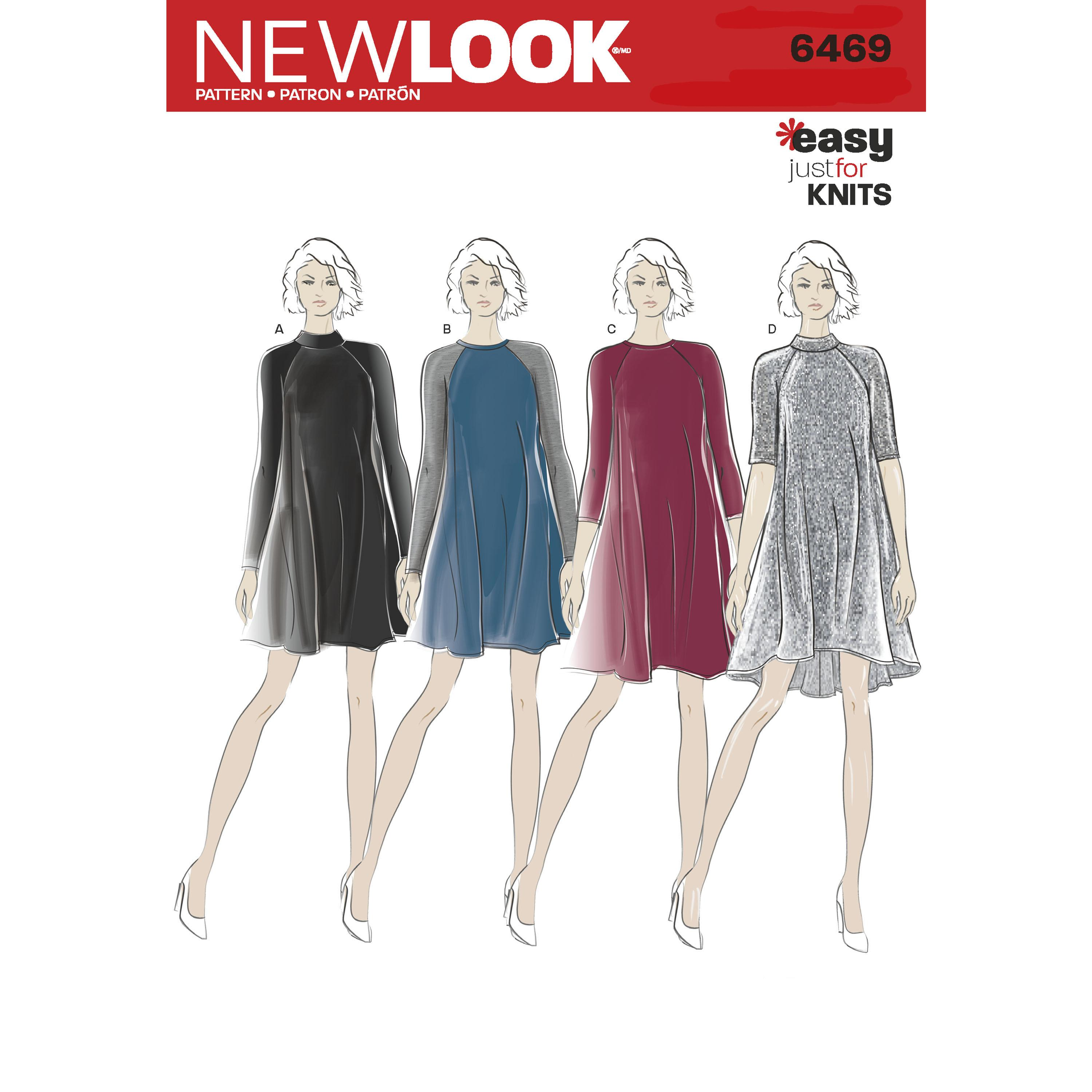 NewLook N6469 Misses' Easy Knit Dress with Length and Sleeve Variations