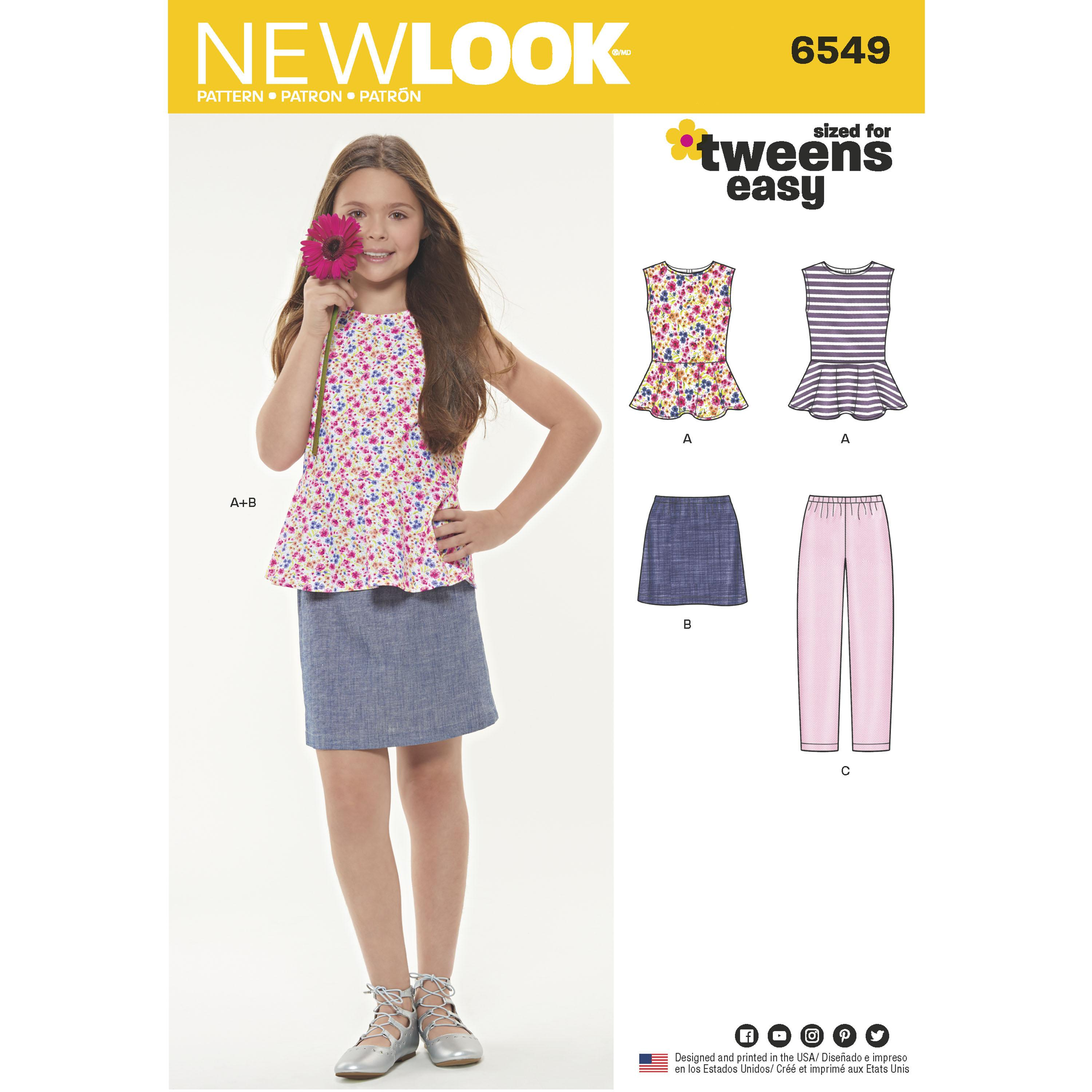 NewLook N6549 Girls' Top, Skirt and Pants