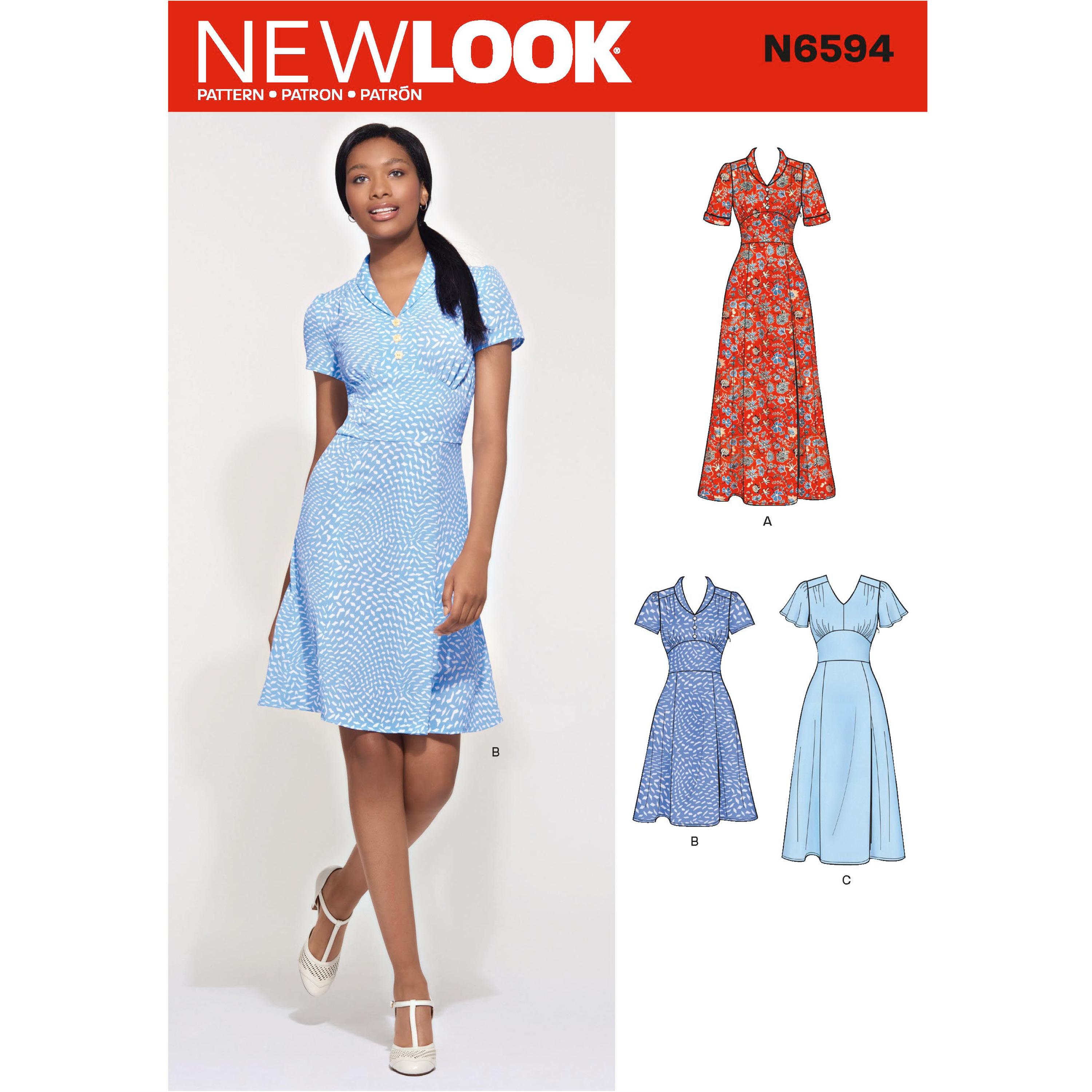 NewLook Sewing Pattern N6594 Misses' Dress In Three Lengths
