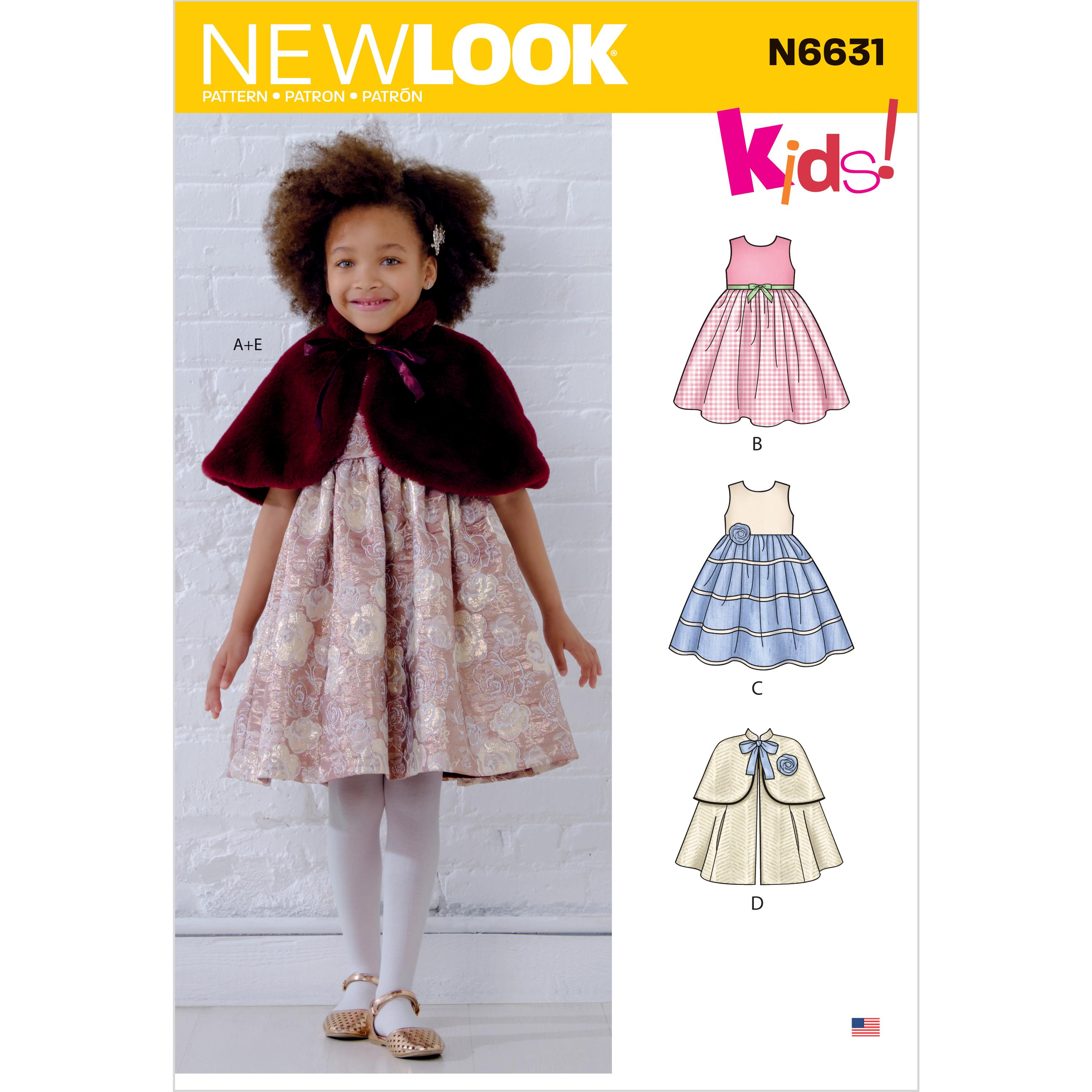 NewLook Sewing Pattern N6631 Children's Dresses and Capes
