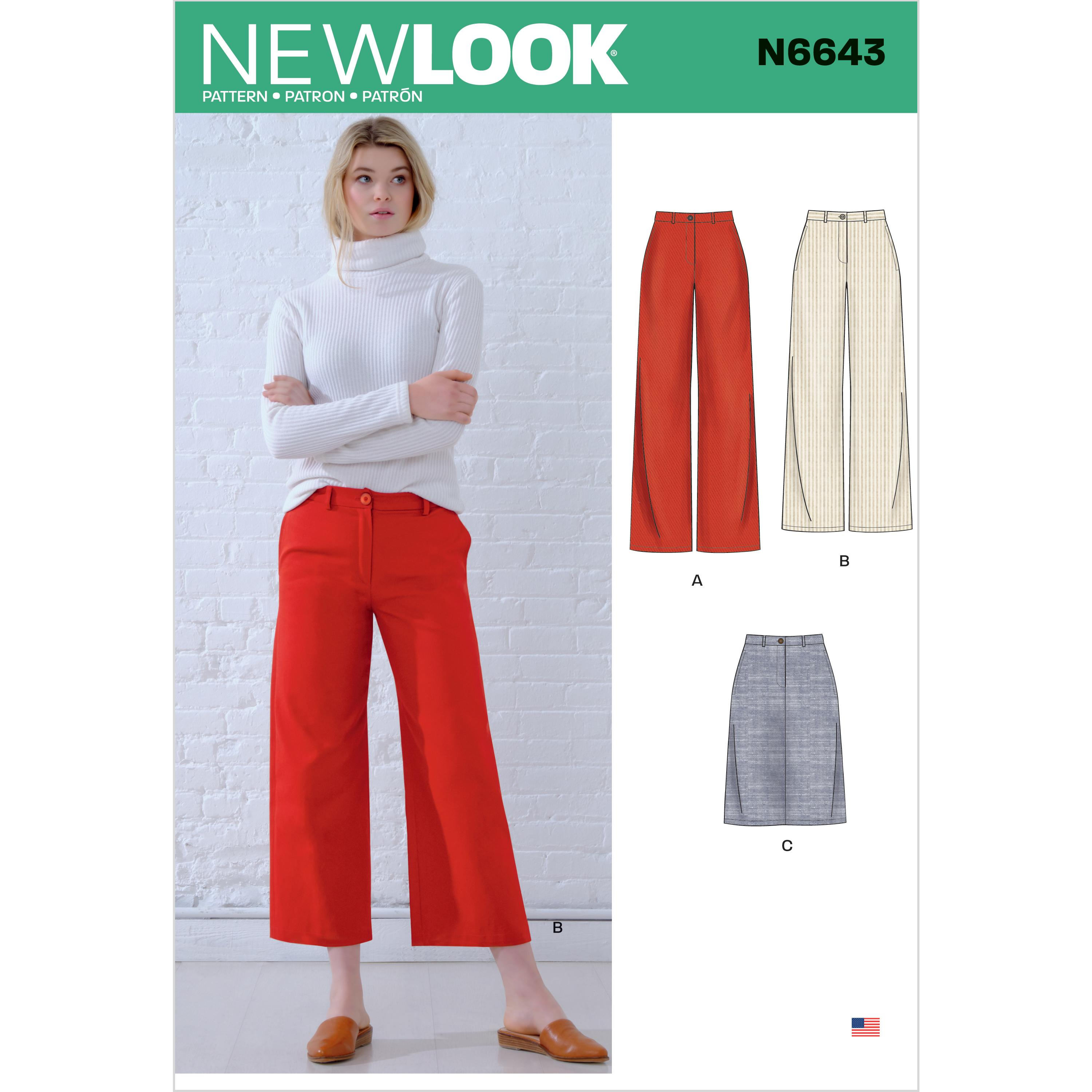 New Look Sewing Pattern N6643 Misses' Wide Leg Pants and Skirt