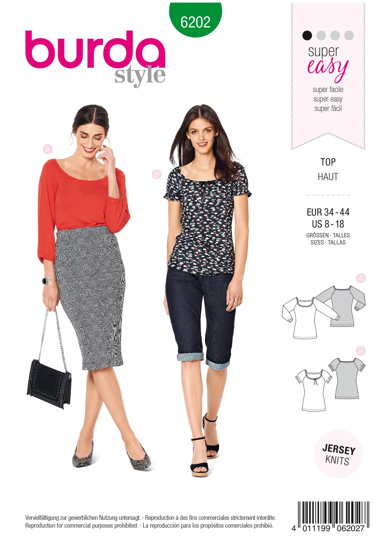 Burda B6202 Top with Raglan Sleeves Sewing Pattern
