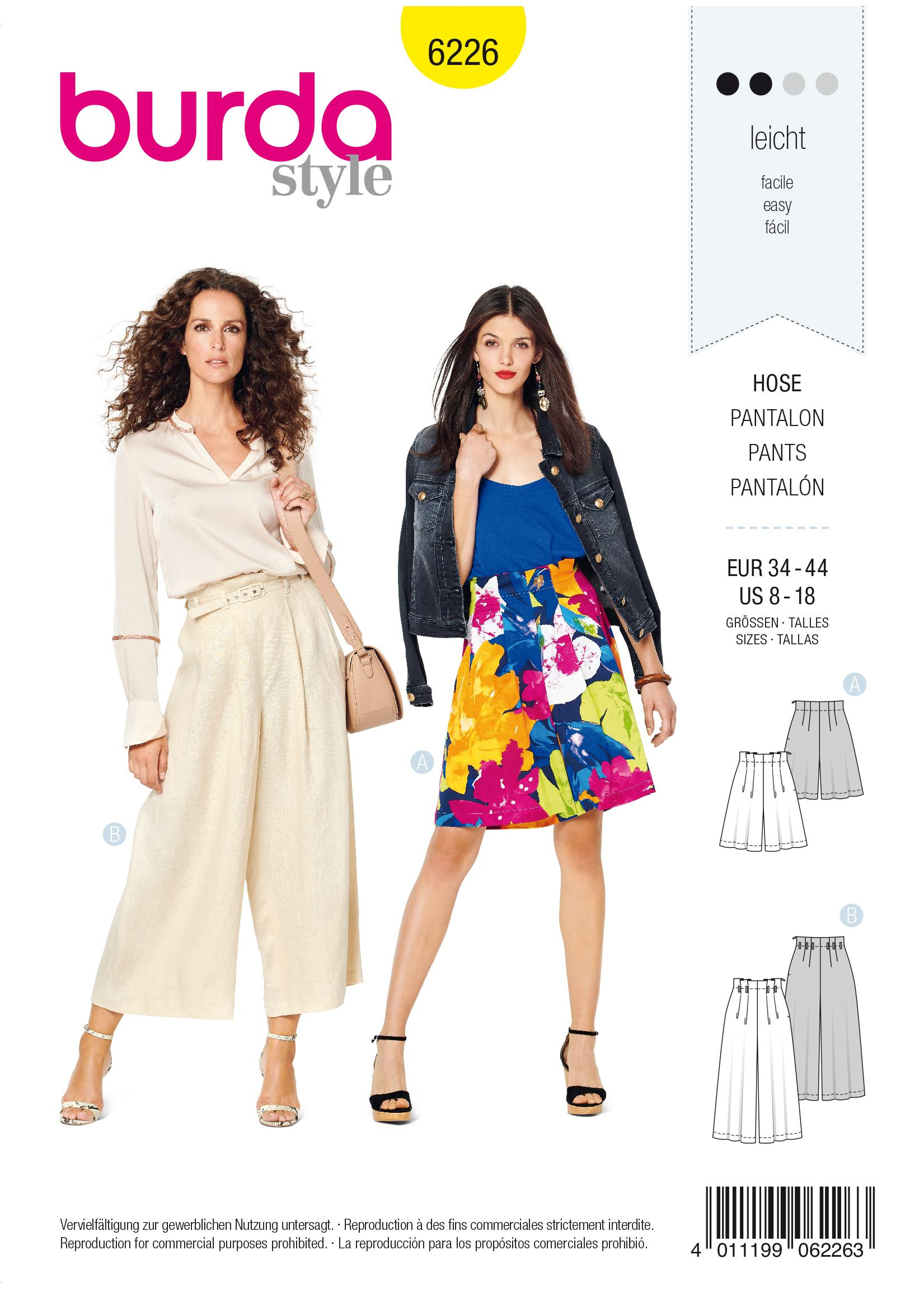 Burda B6226 Women's Bermudas & Culottes Sewing Pattern