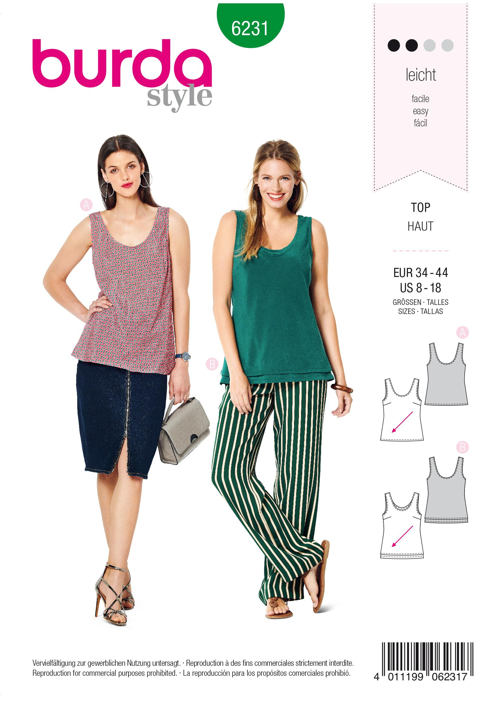 Burda B6231 Top with Rounded Neckline Sewing Pattern