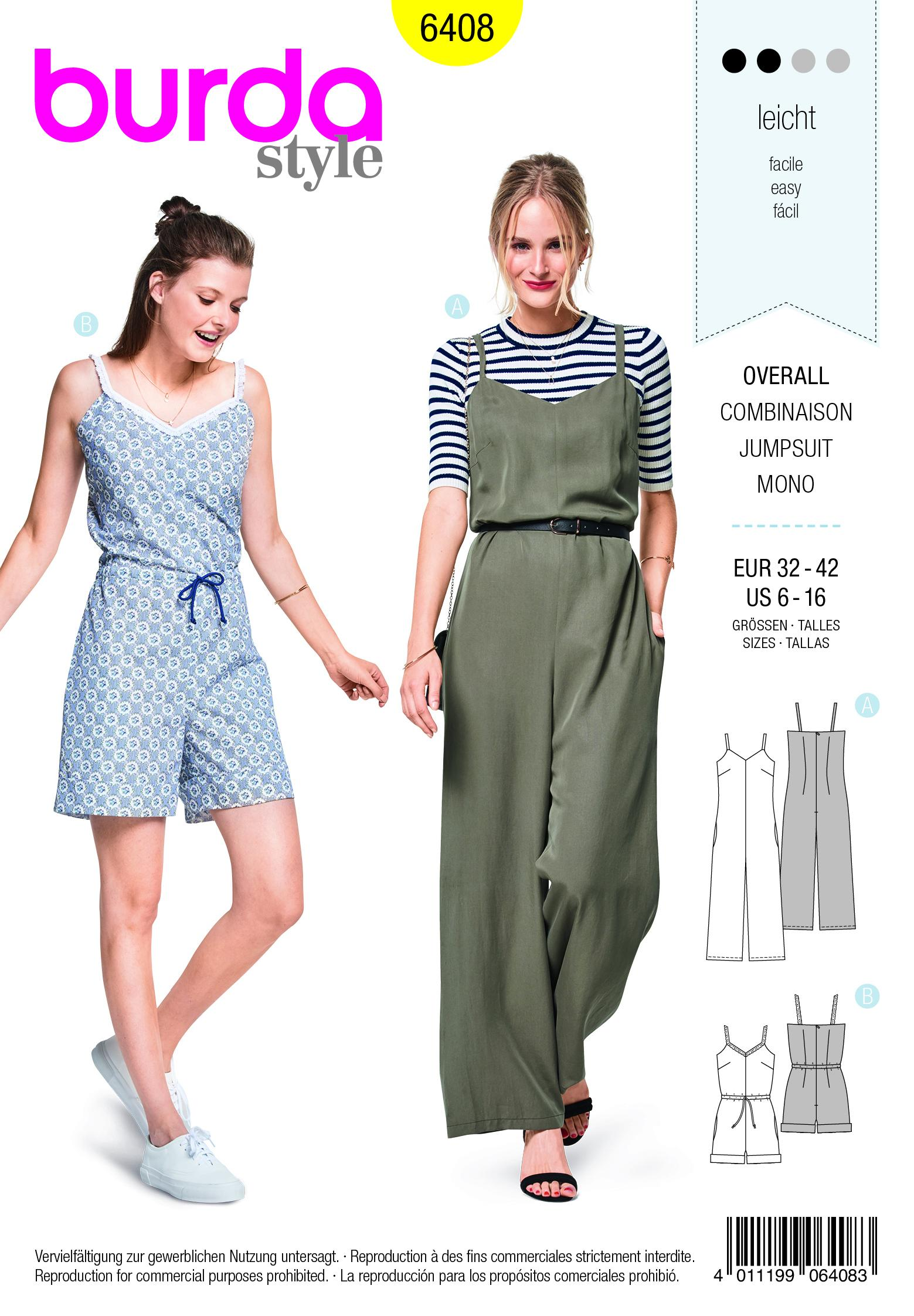 Burda B6408 Misses Jumpsuit in Various Lengths