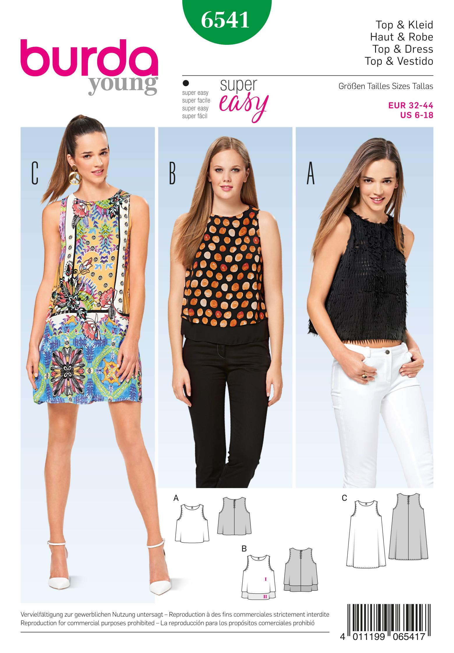 Burda B6541 Misses'  Top and Dress