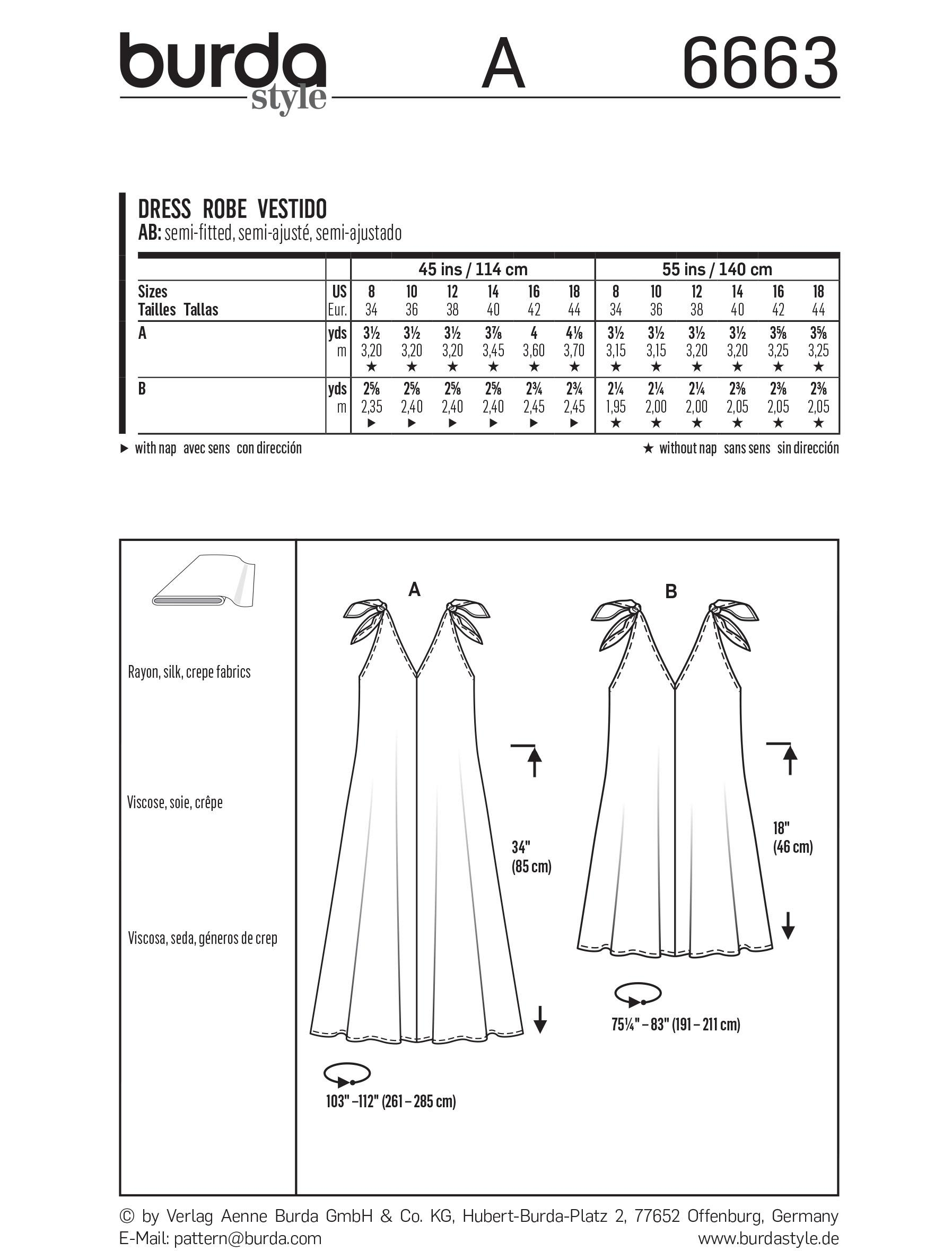 Burda B6663 Women's Dress Sewing Pattern