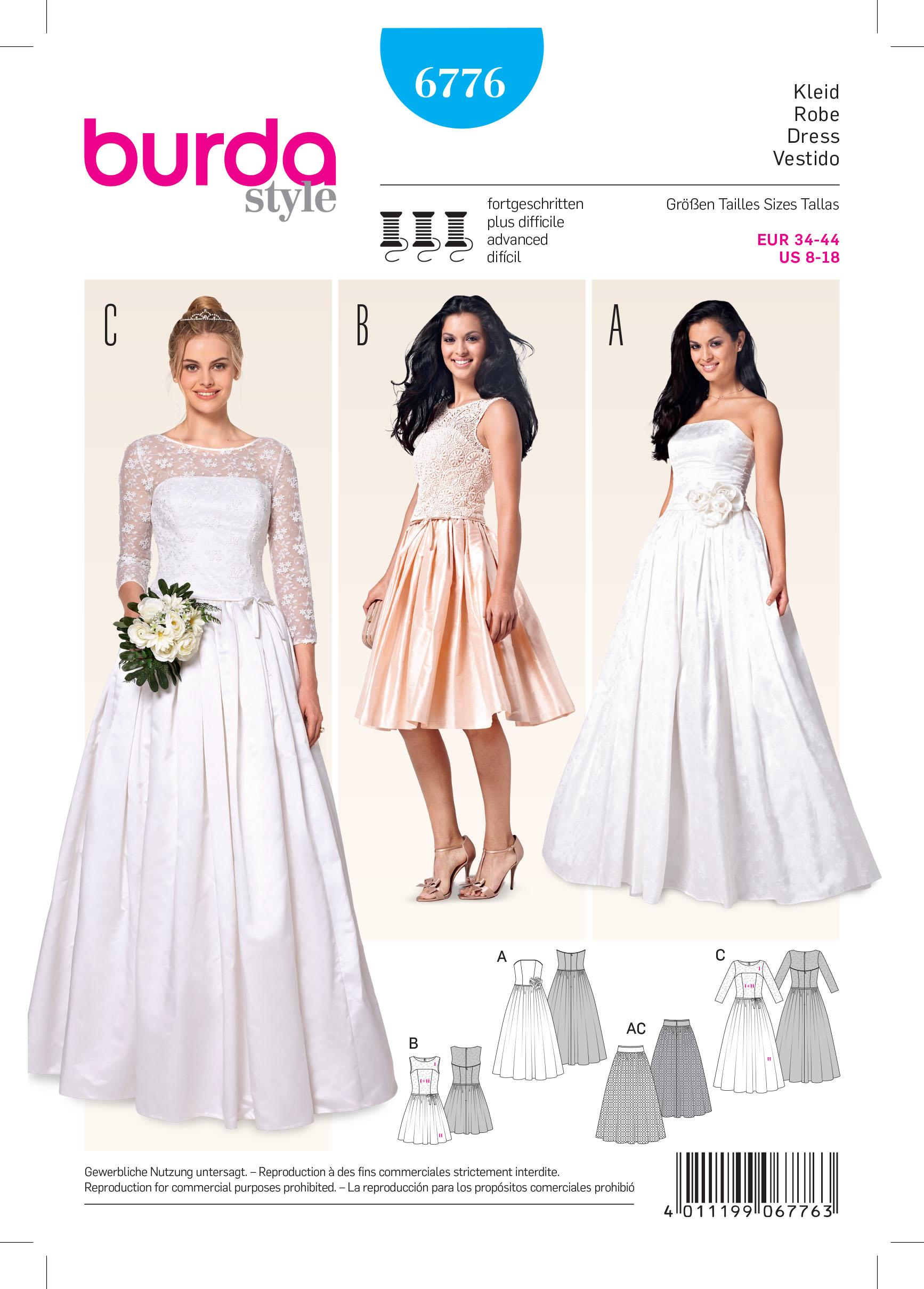 Burda B6776 Evening & Bridal Wear Sewing Pattern