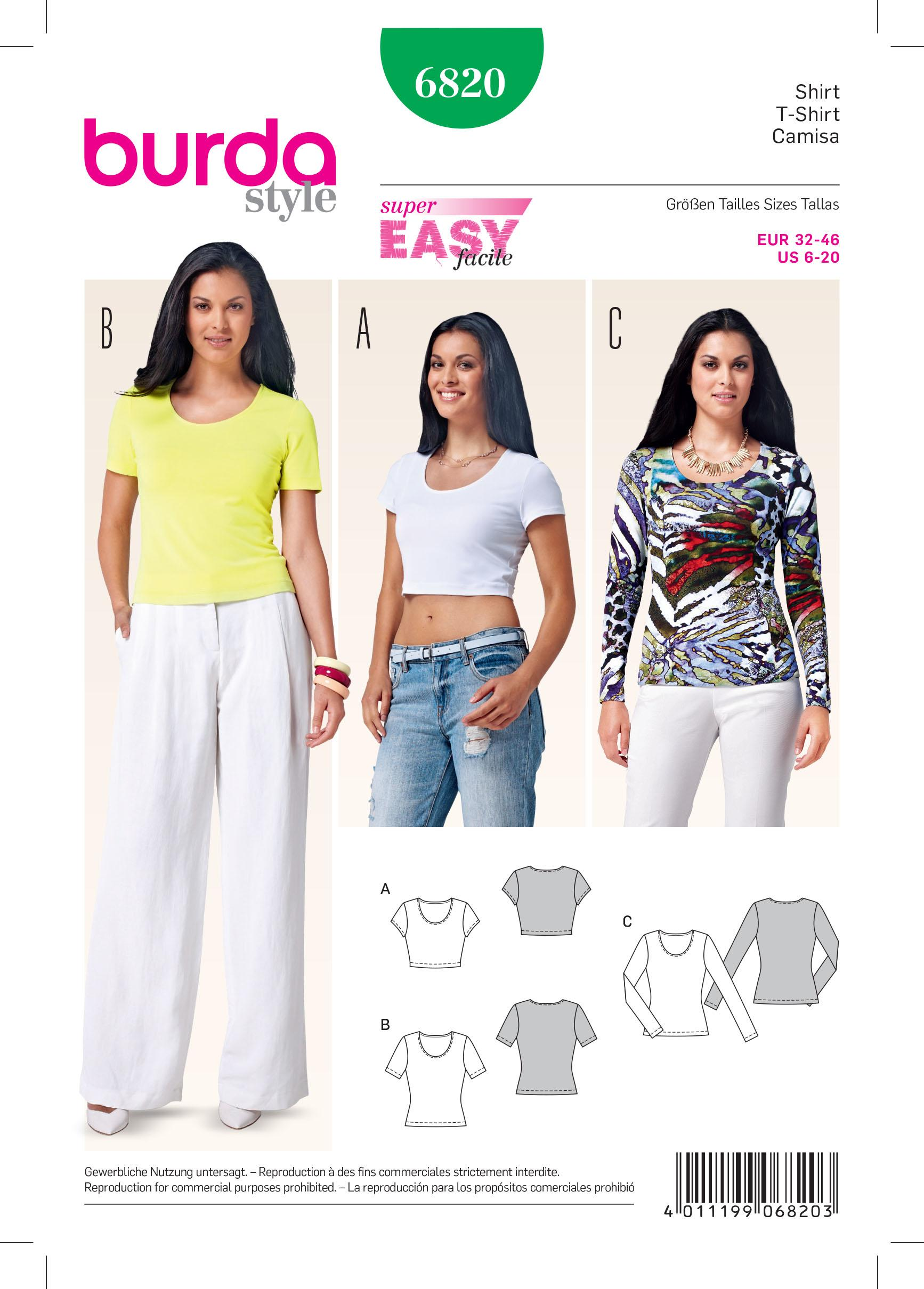 Burda B6820 Tops, Shirts, Blouses Sewing Pattern