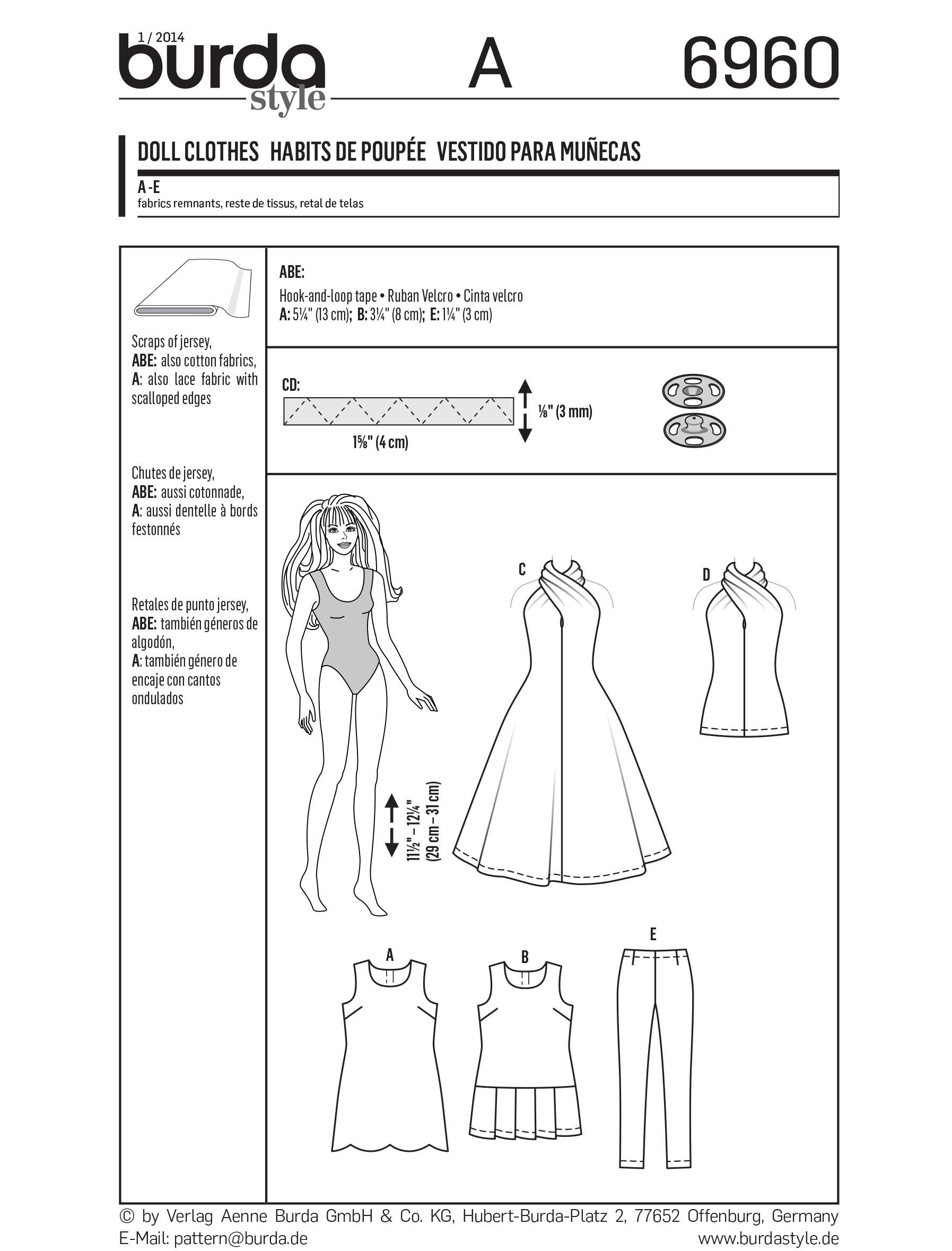Burda B6960 Burda Doll Clothes, Accessories Sewing Pattern