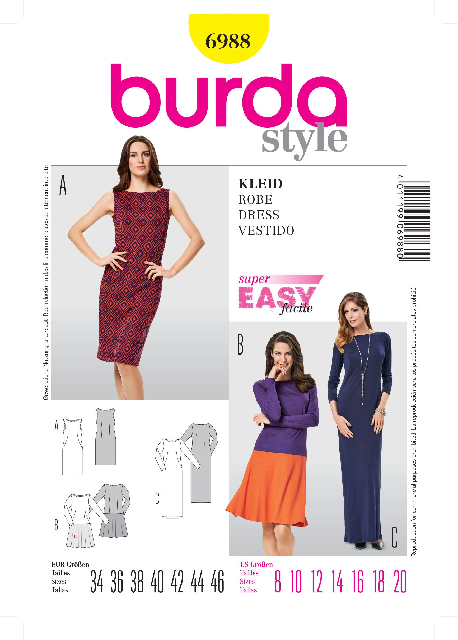 Burda B6988 Burda Dress Sewing Pattern