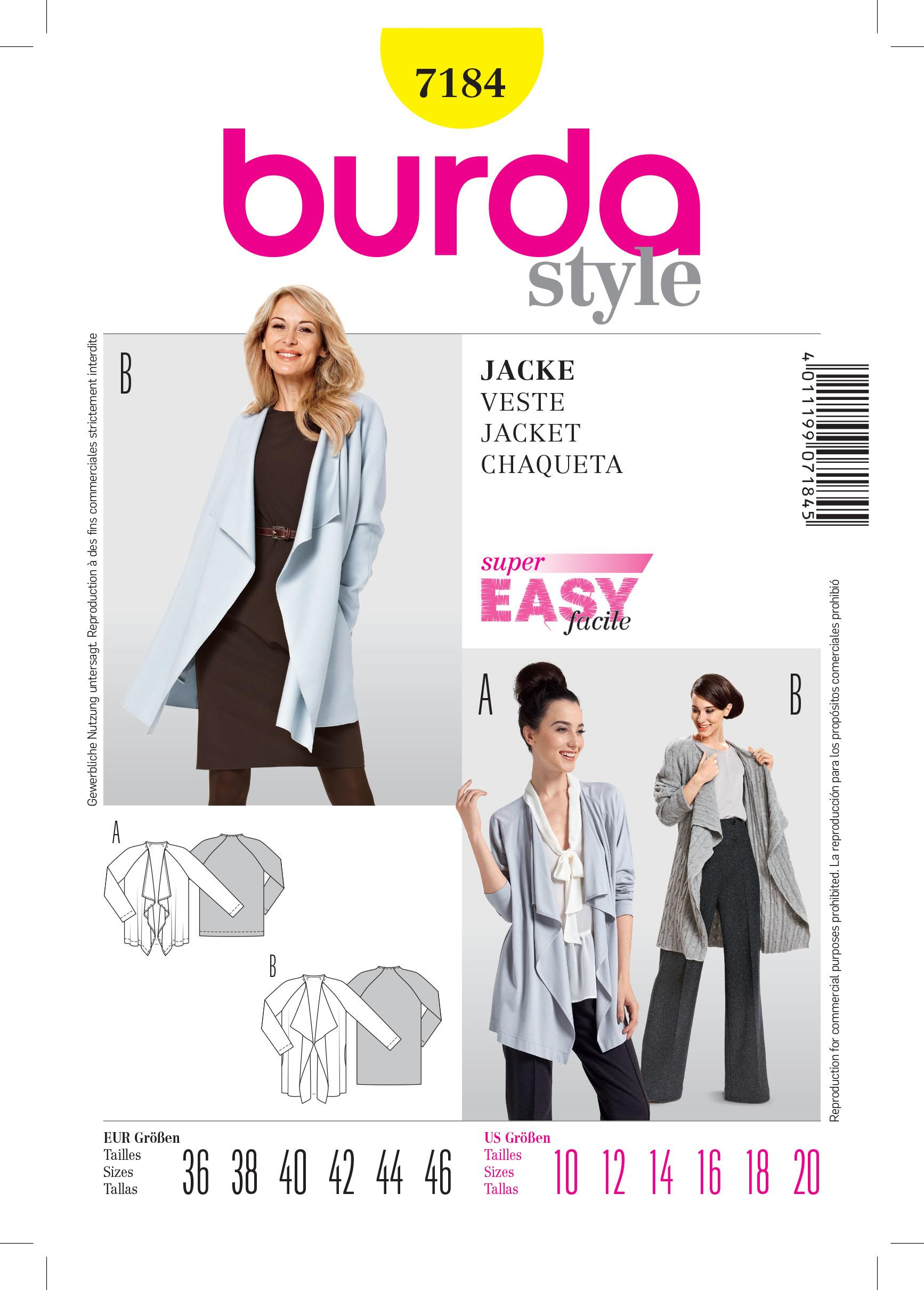 Burda B7184 Blouse Sewing Pattern