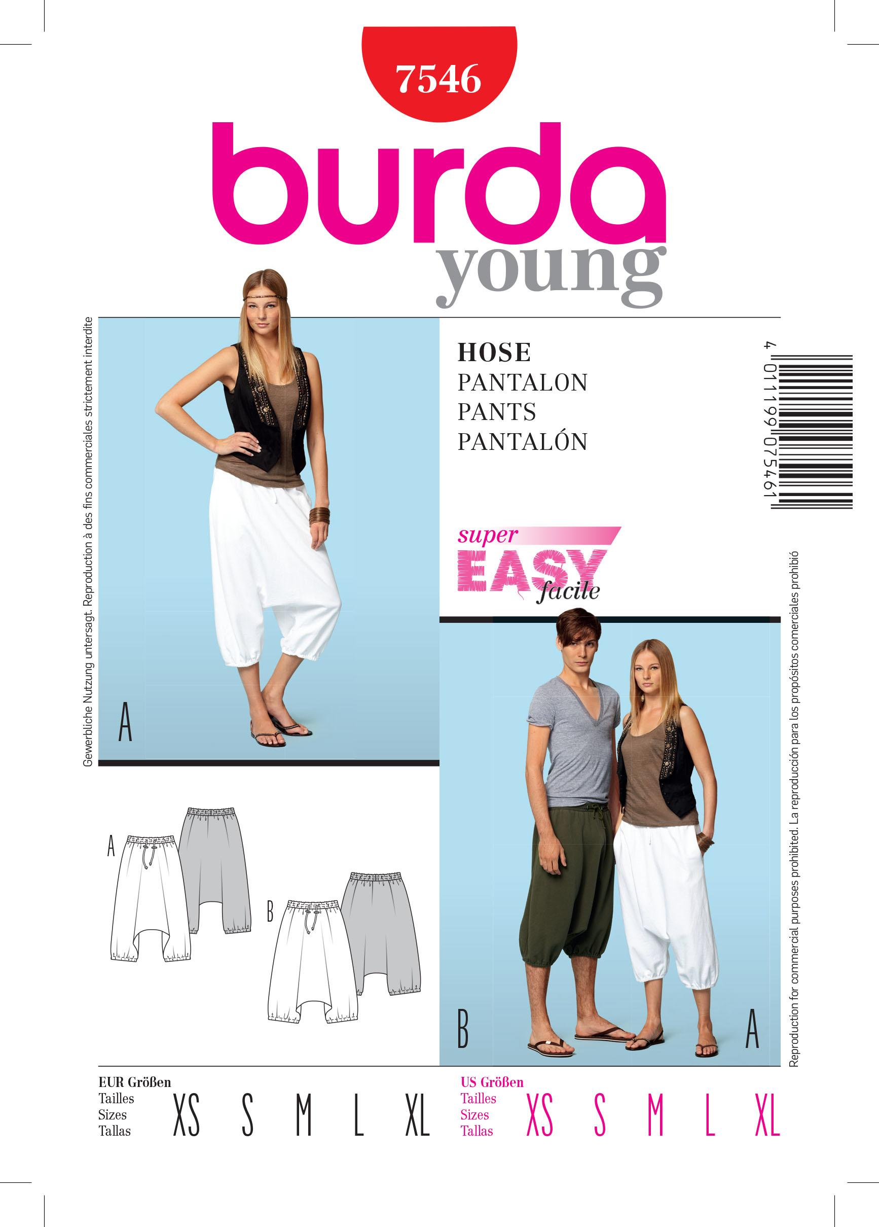Burda B7546 Trousers Sewing Pattern