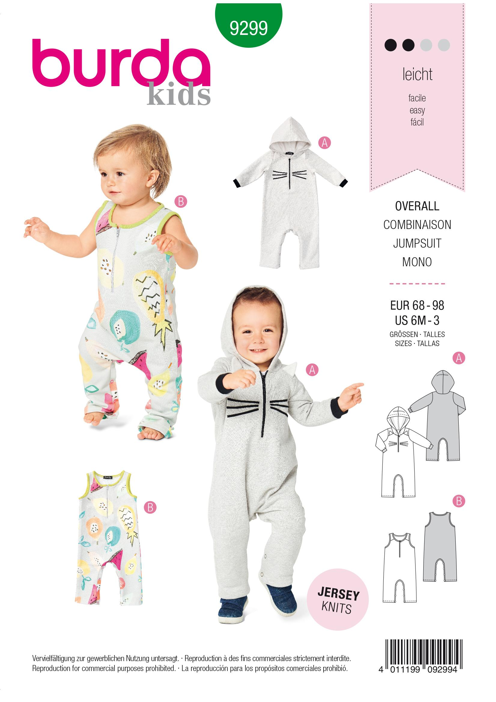 Burda B9299 Overalls? with Hood?  with or without Sleeves Sewing Pattern