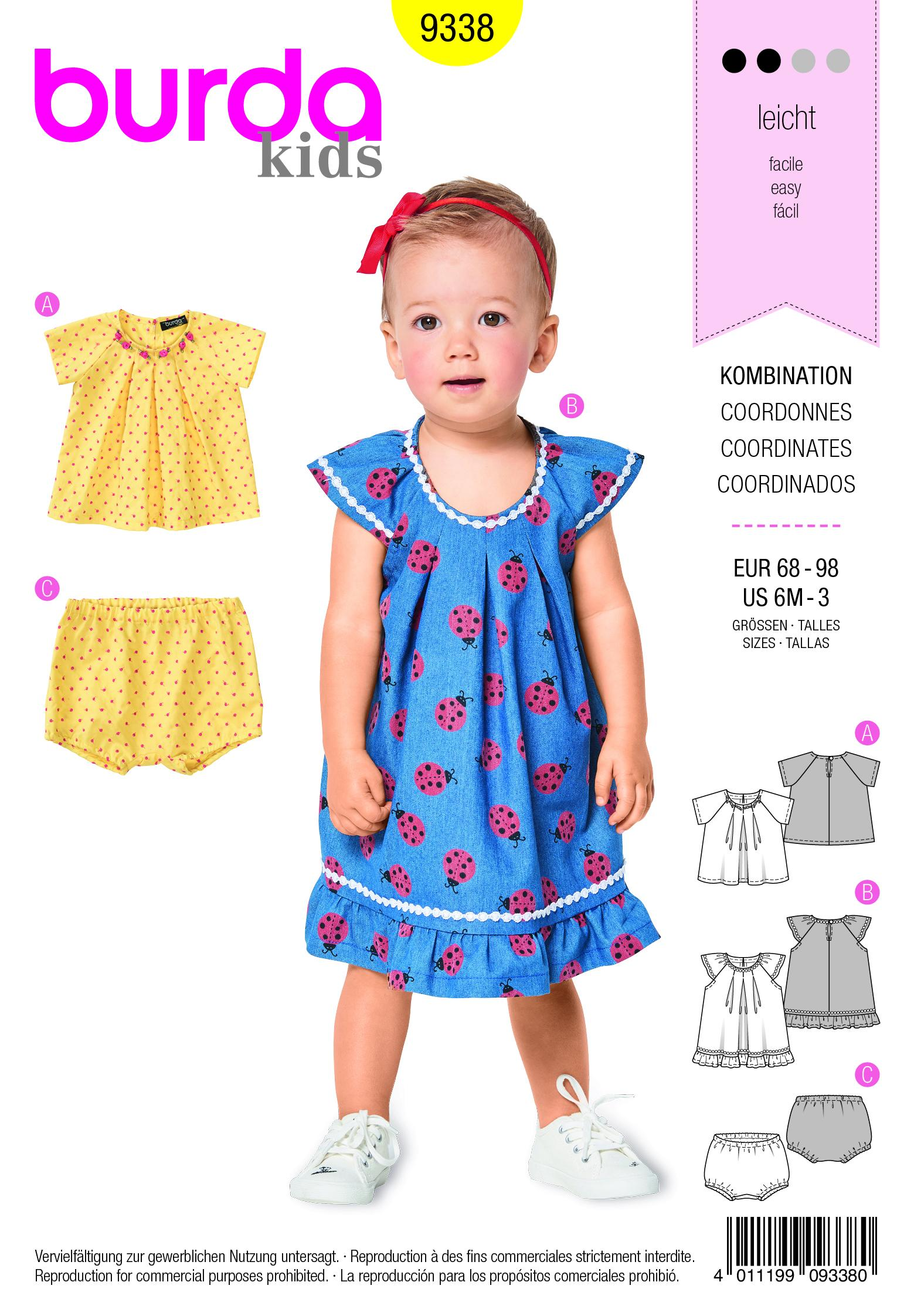 Burda B9338 Toddler's Blouse and Dress