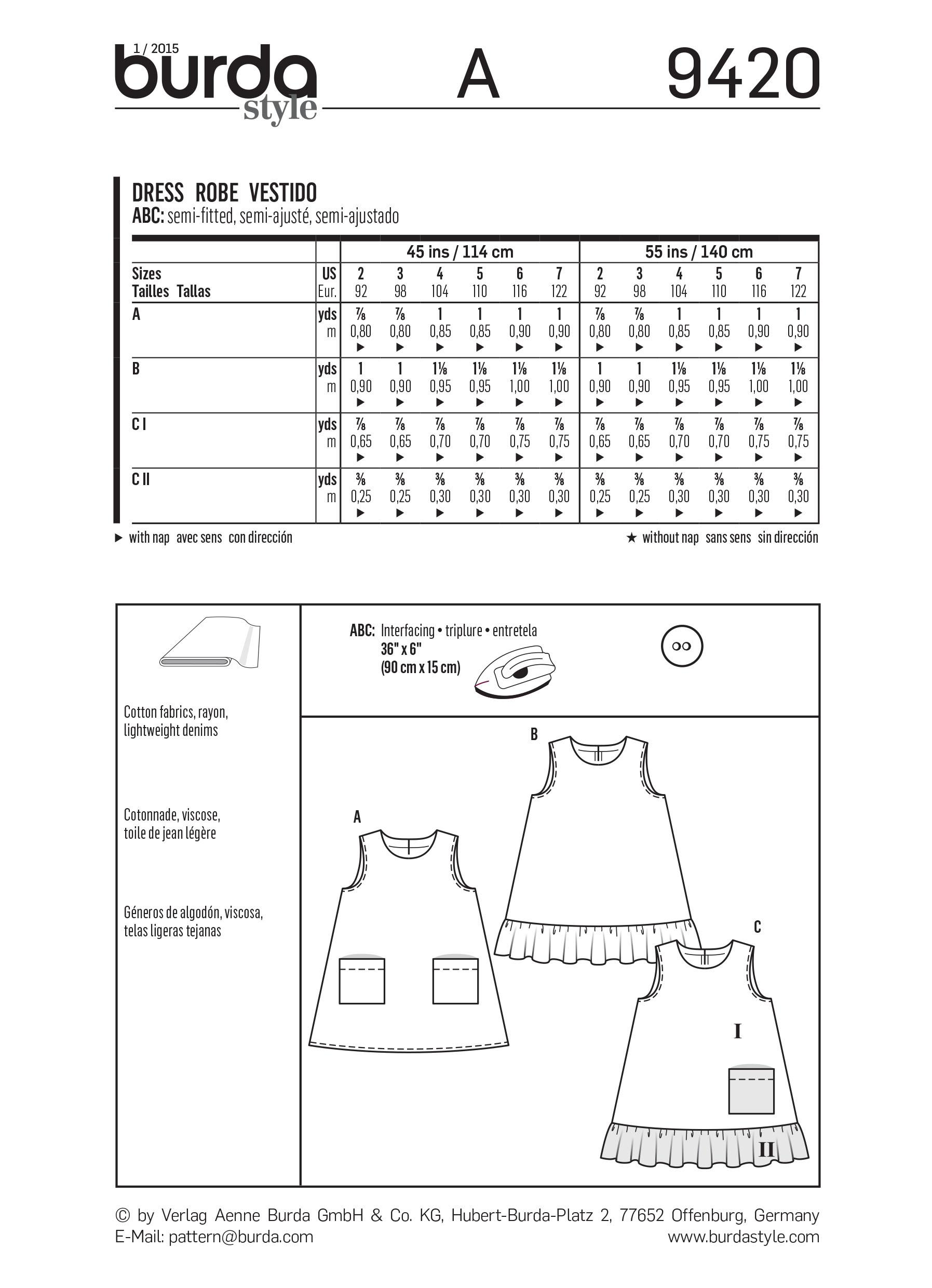 Burda B9420 Toddlers Sewing Pattern