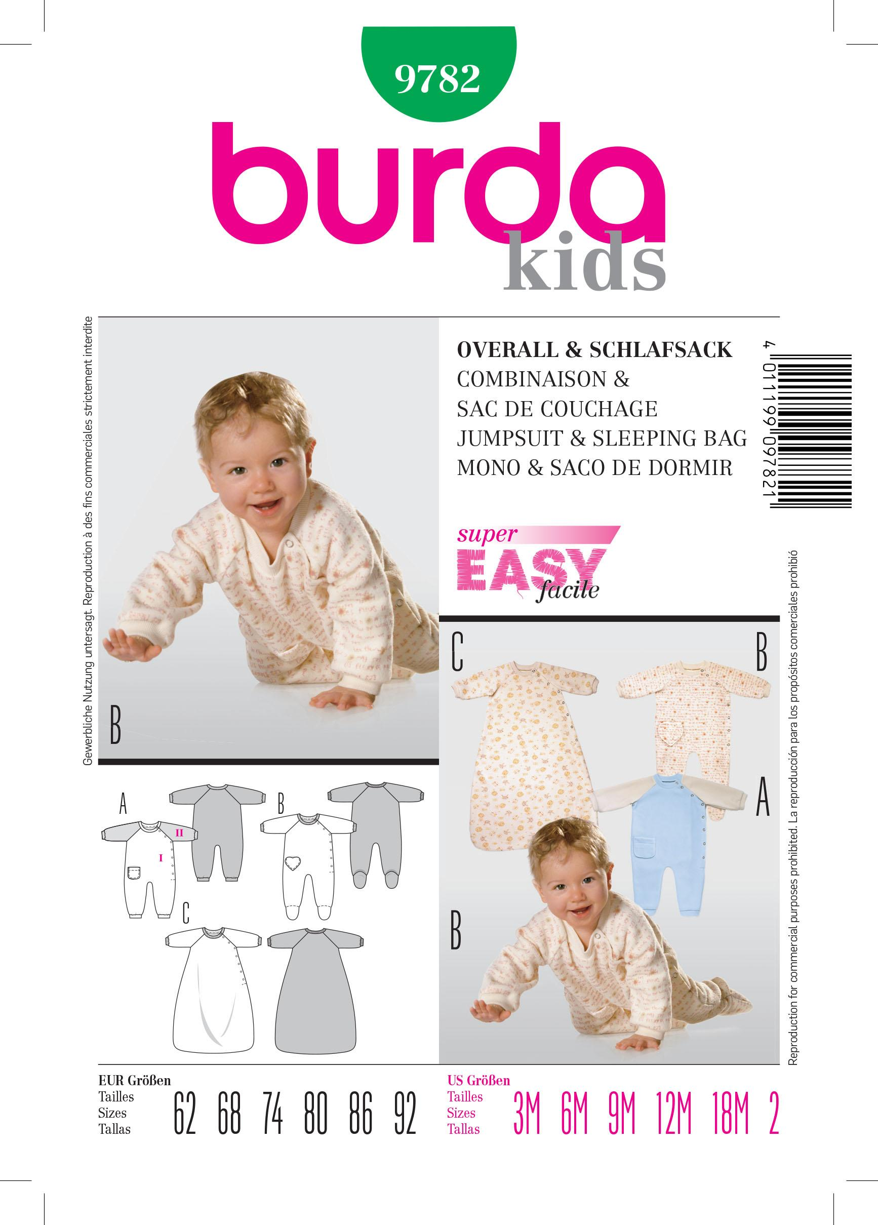 Burda B9782 Jumpsuit & Sleeping Bag Sewing Pattern