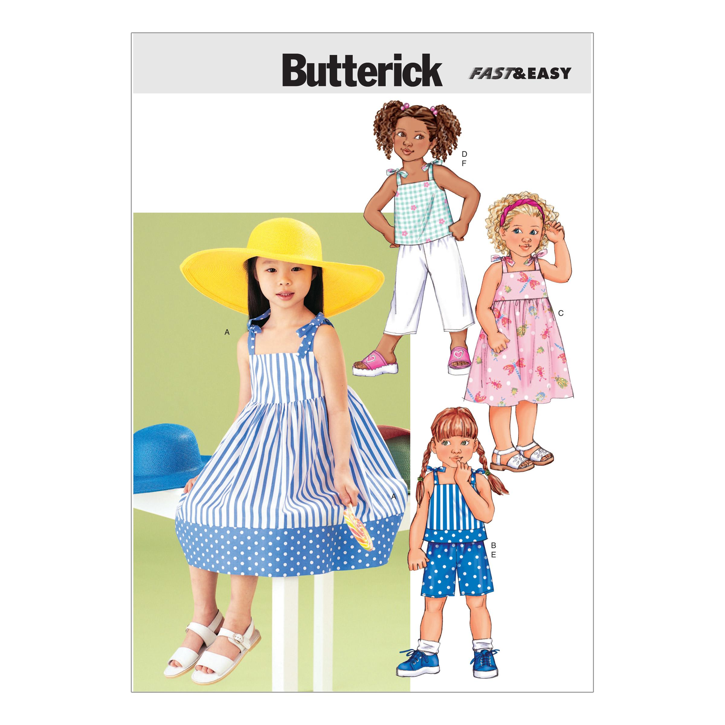 Butterick B3477 Children's Dress, Top, Short & Pants