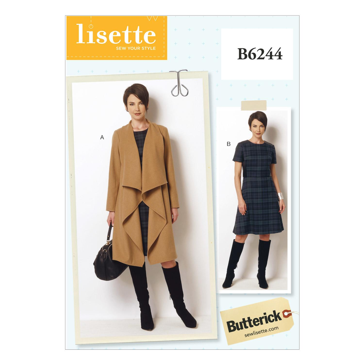 Butterick B6244 Misses'/Women's Coat and Dress