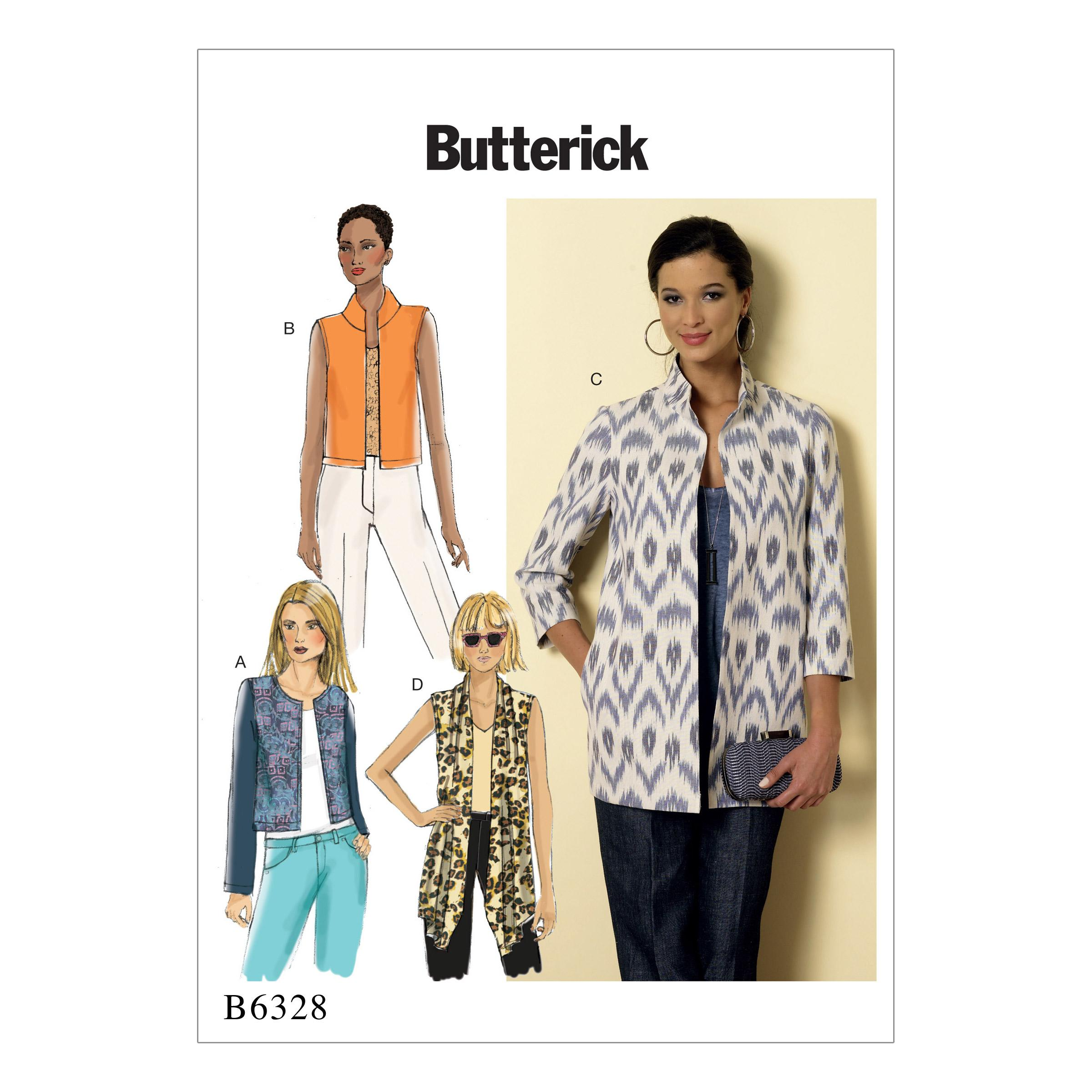 Butterick B6328 Misses' Open-Front Jackets