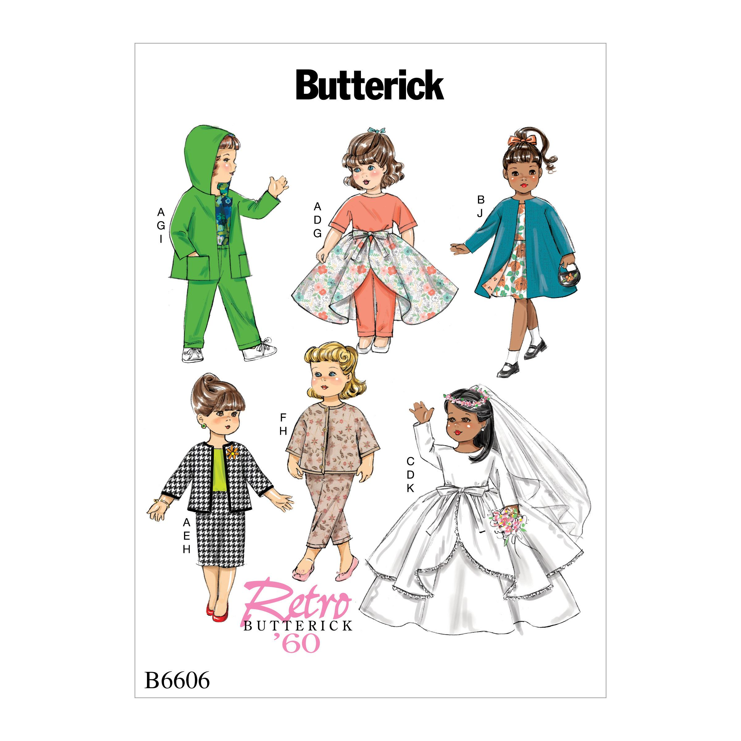 "Butterick B6606 Clothes For 18"" Doll"