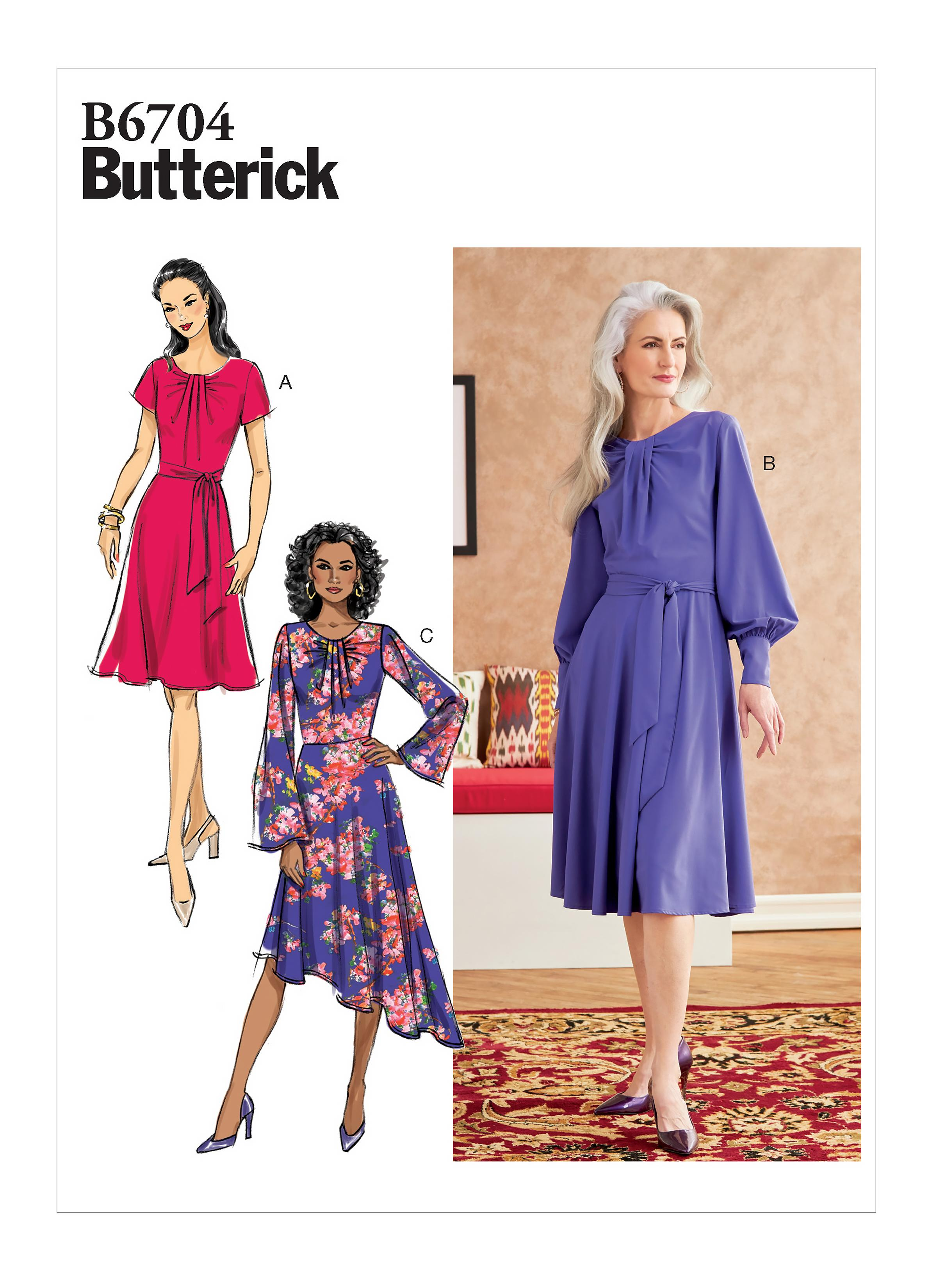 Butterick B6704 Misses' Dress & Sash
