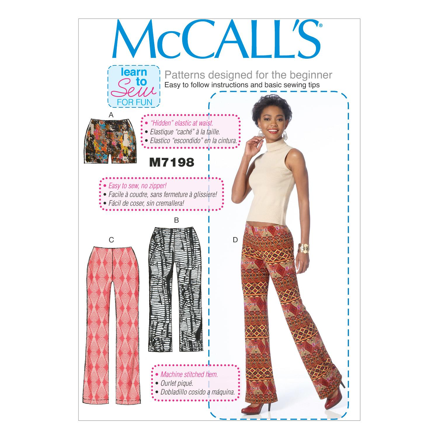 McCalls M7198 Learn To Sew for Fun, Pants/Shorts & Jumpsuits